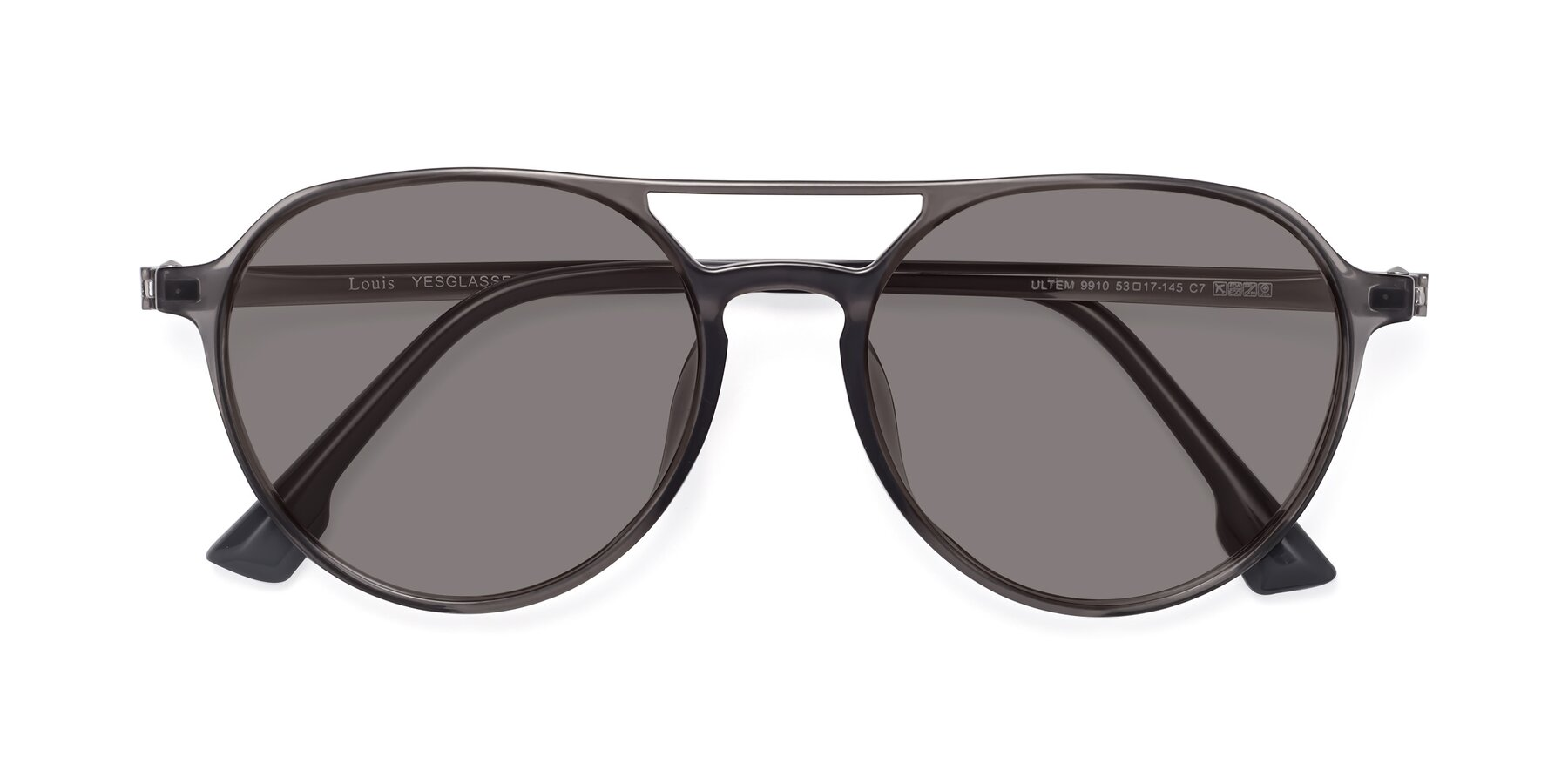 Folded Front of Louis in Gray with Medium Gray Tinted Lenses