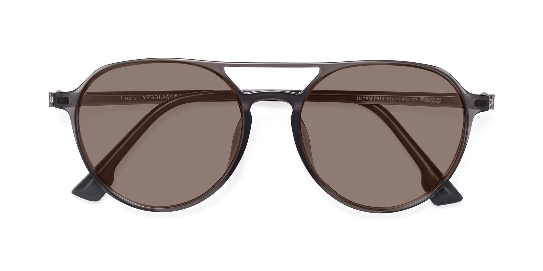 Folded Front of Louis in Gray with Medium Brown Tinted Lenses