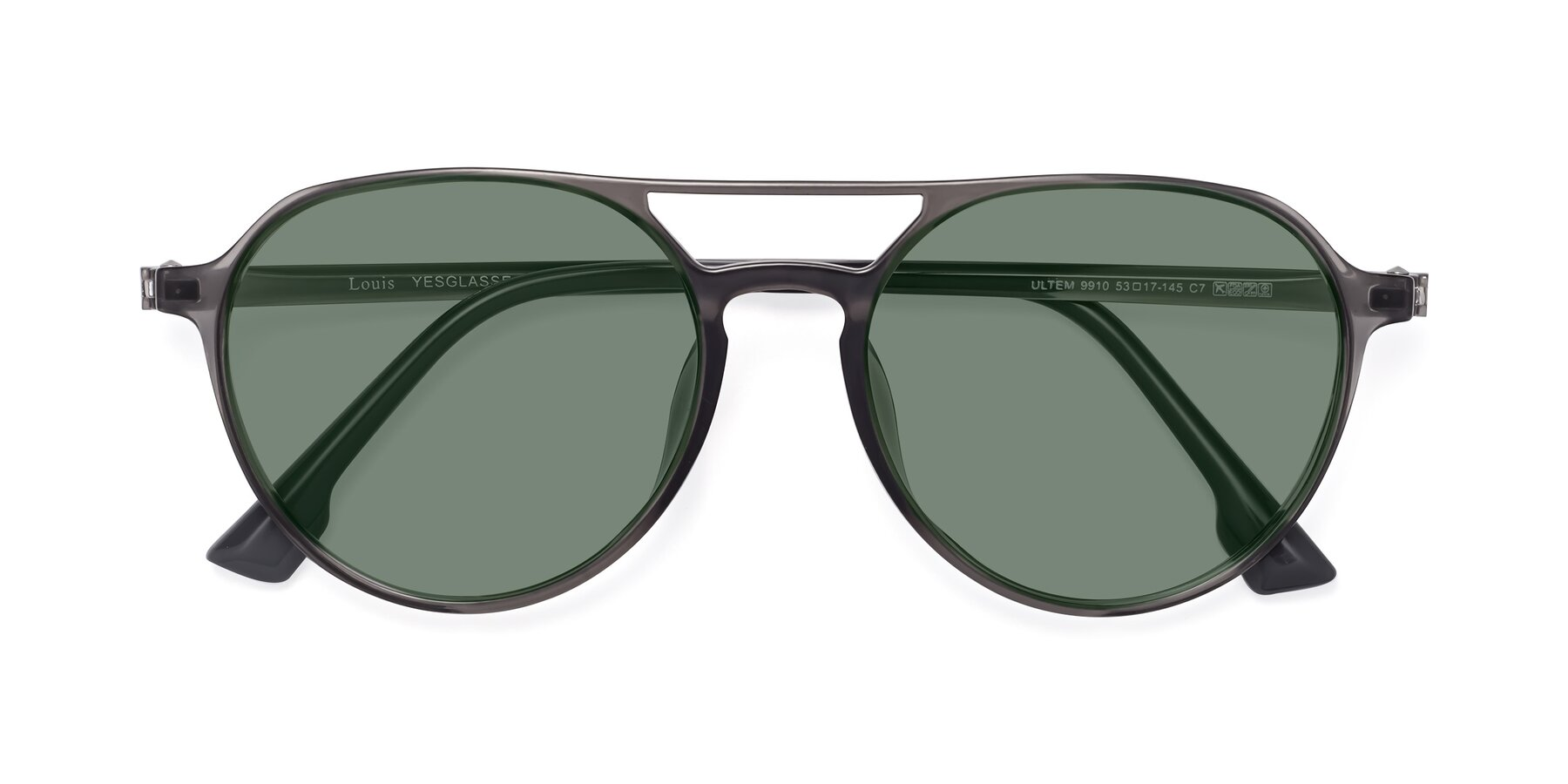 Folded Front of Louis in Gray with Medium Green Tinted Lenses