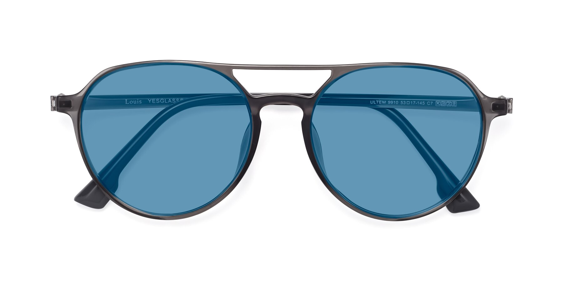 Folded Front of Louis in Gray with Medium Blue Tinted Lenses