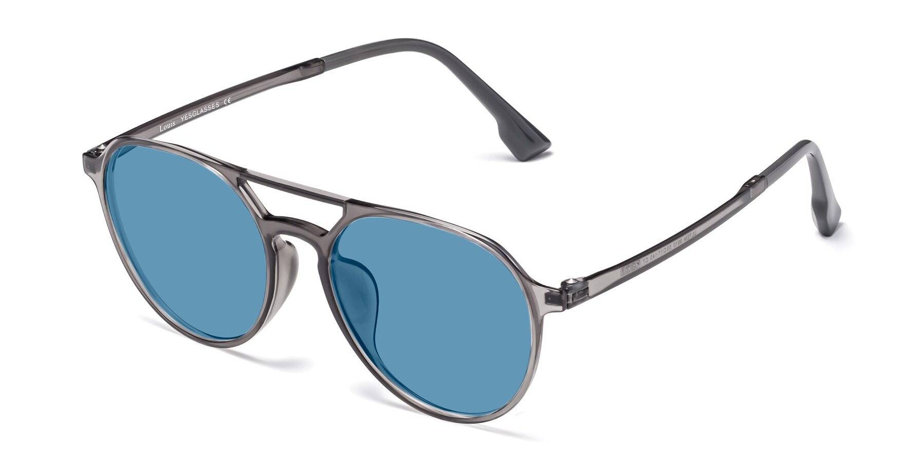 Angle of Louis in Gray with Medium Blue Tinted Lenses