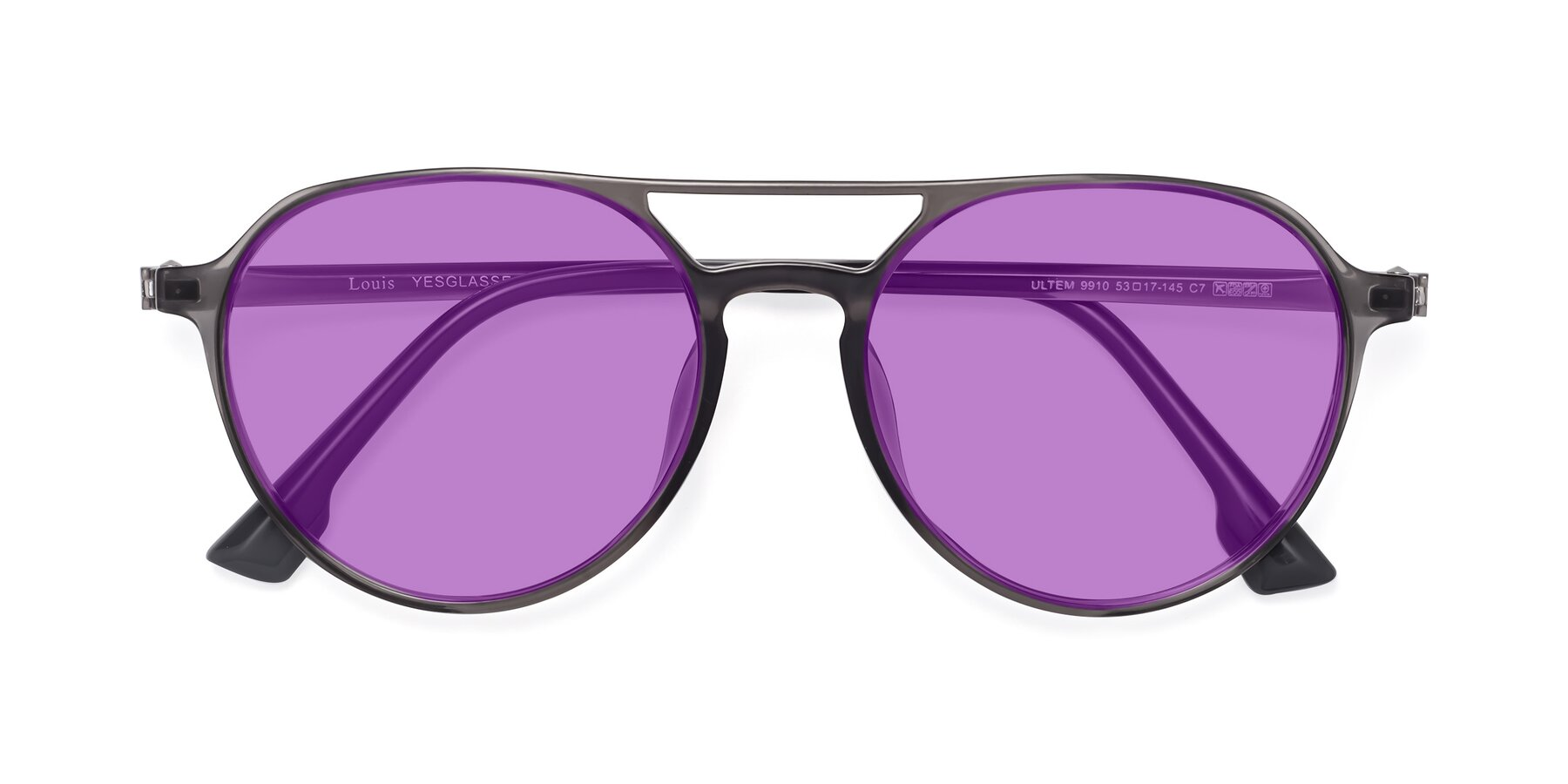 Folded Front of Louis in Gray with Medium Purple Tinted Lenses