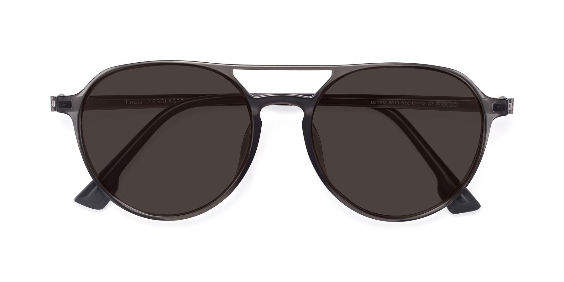 Folded Front of Louis in Gray with Gray Tinted Lenses