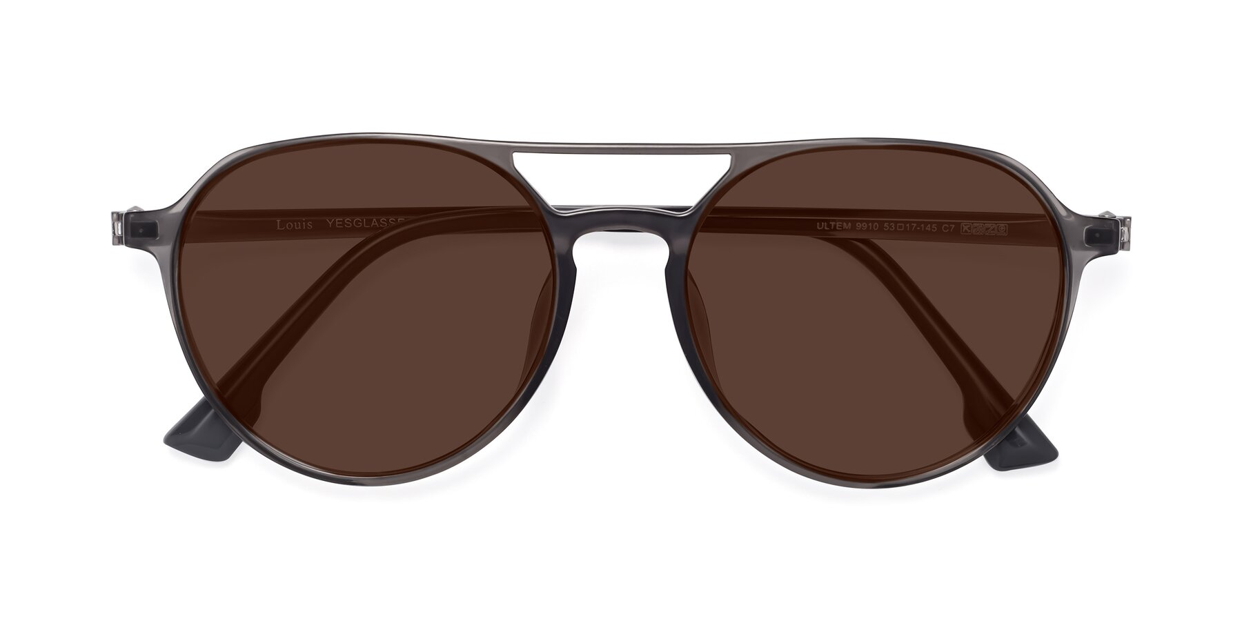 Folded Front of Louis in Gray with Brown Tinted Lenses