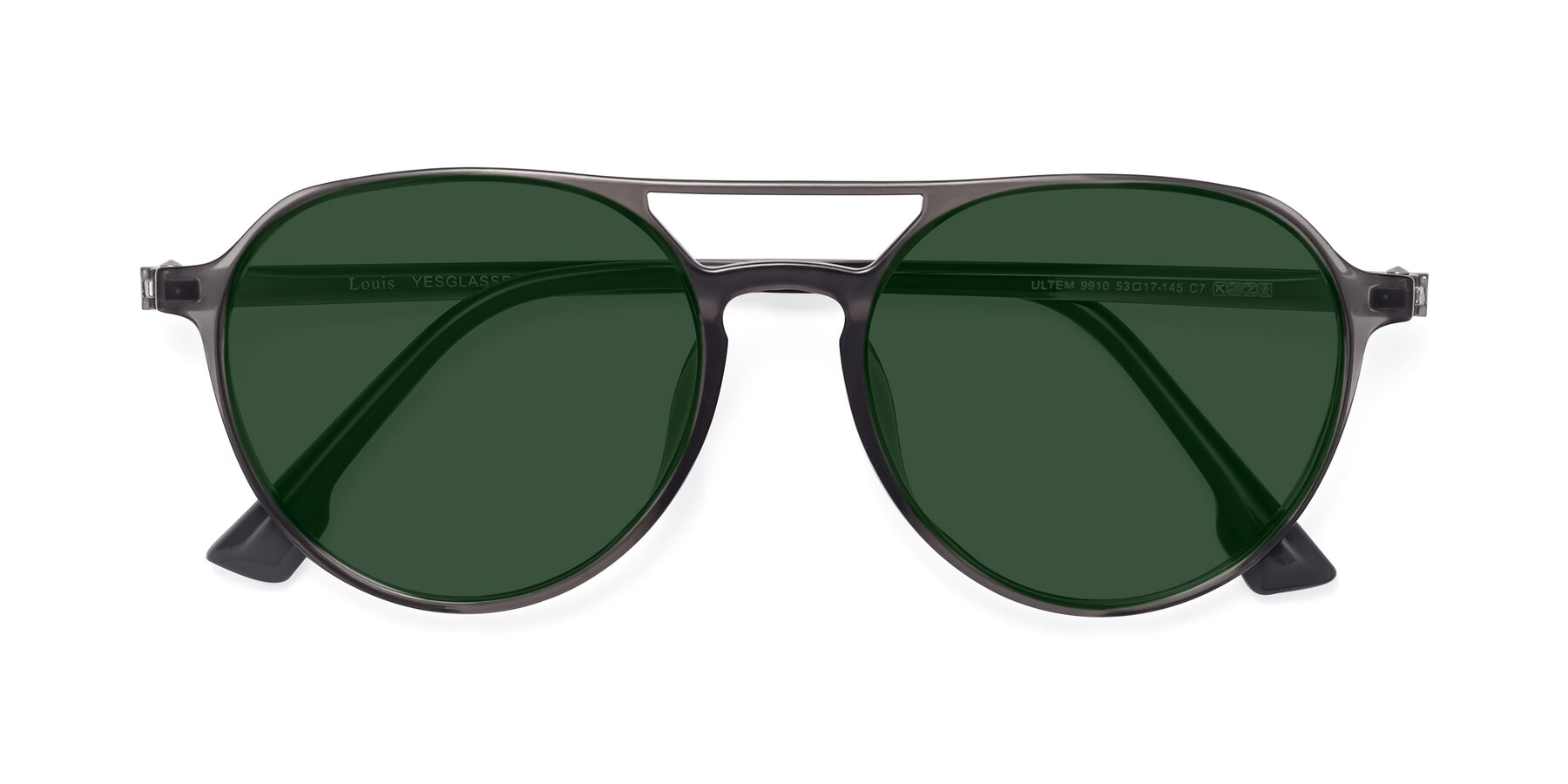 Folded Front of Louis in Gray with Green Tinted Lenses