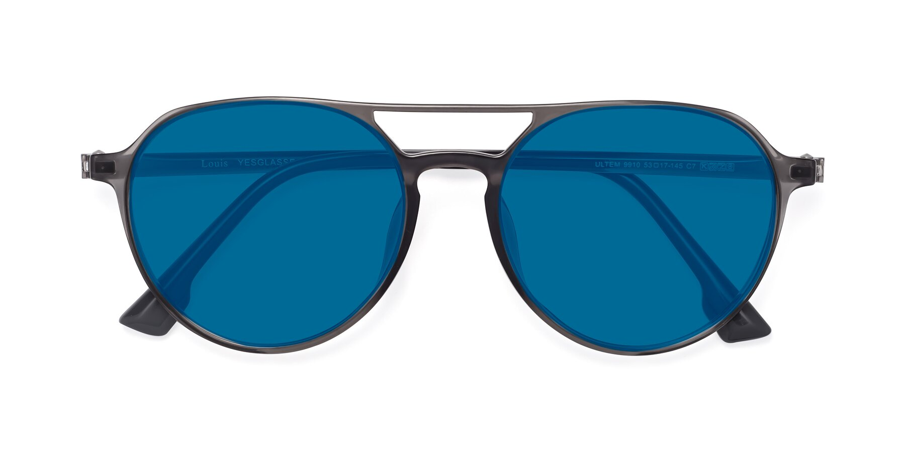 Folded Front of Louis in Gray with Blue Tinted Lenses