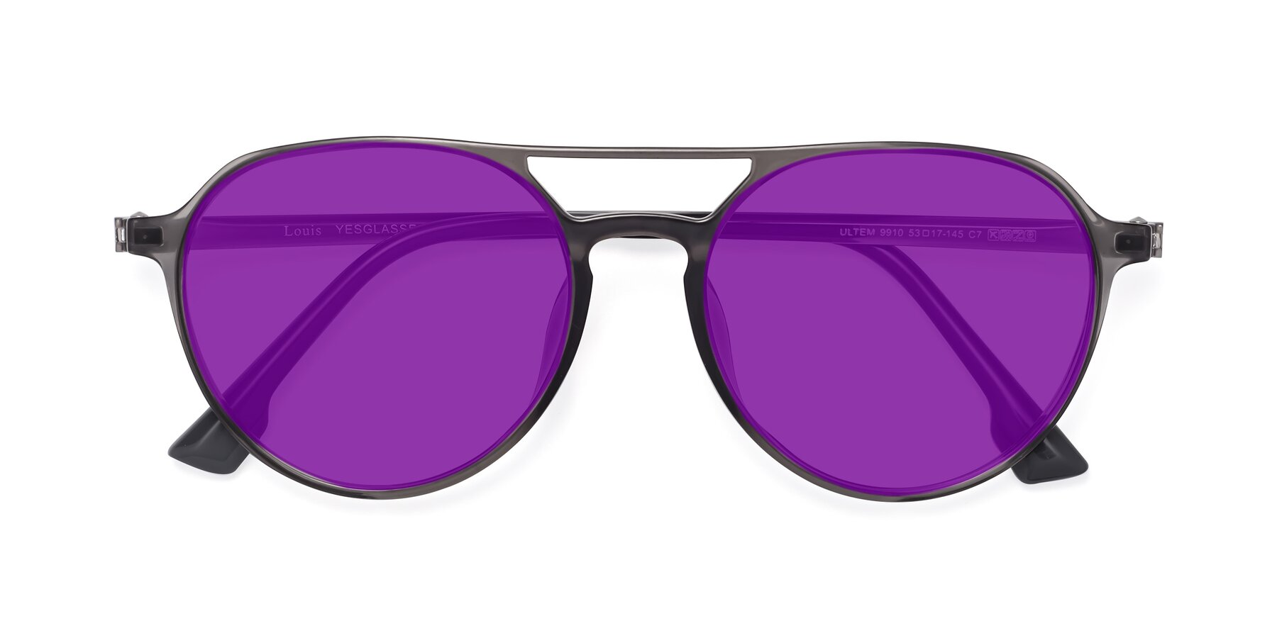 Folded Front of Louis in Gray with Purple Tinted Lenses