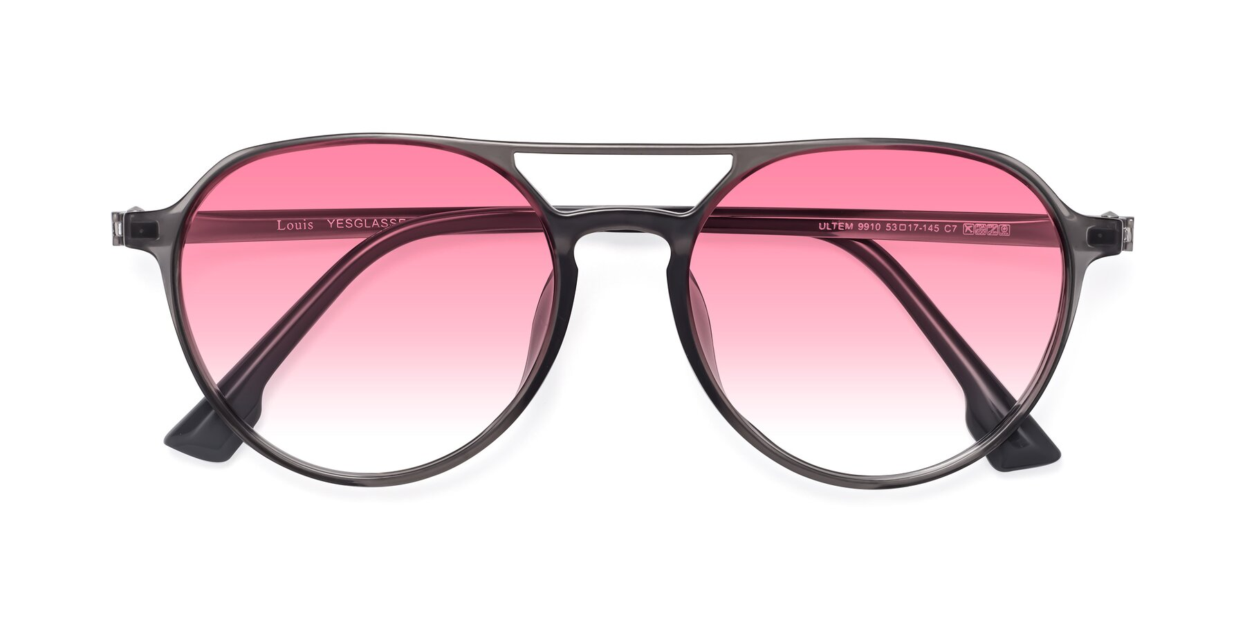 Folded Front of Louis in Gray with Pink Gradient Lenses