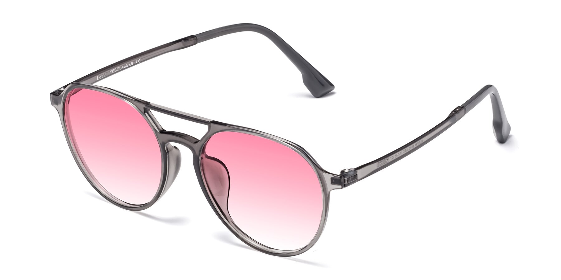 Angle of Louis in Gray with Pink Gradient Lenses