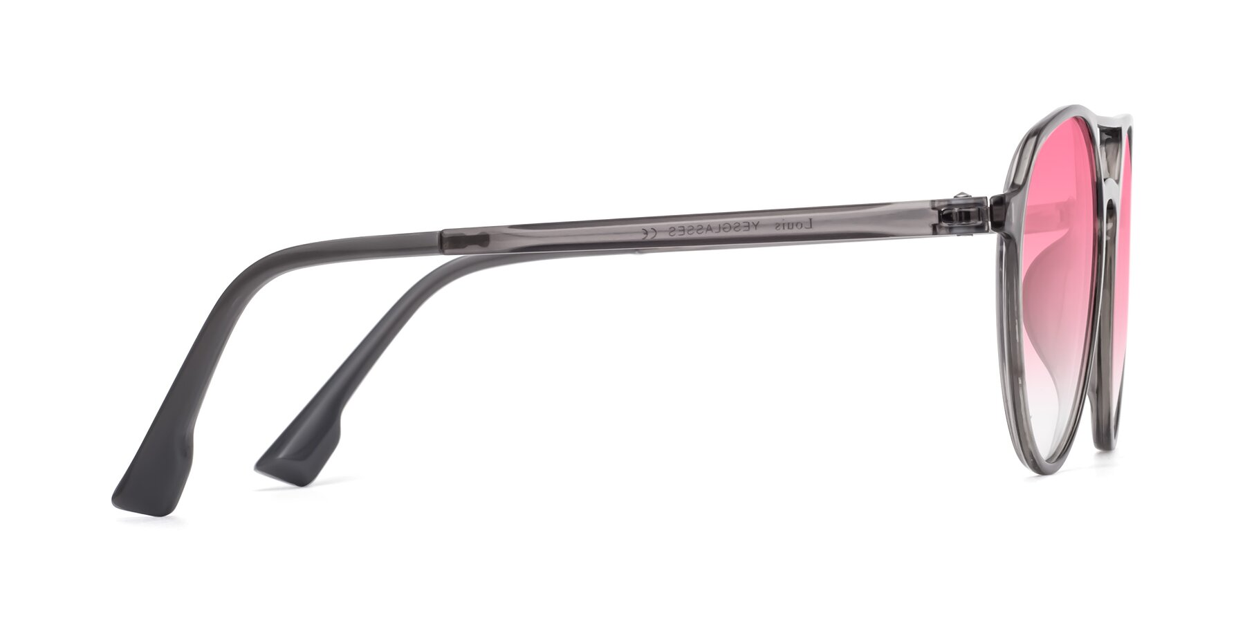 Side of Louis in Gray with Pink Gradient Lenses
