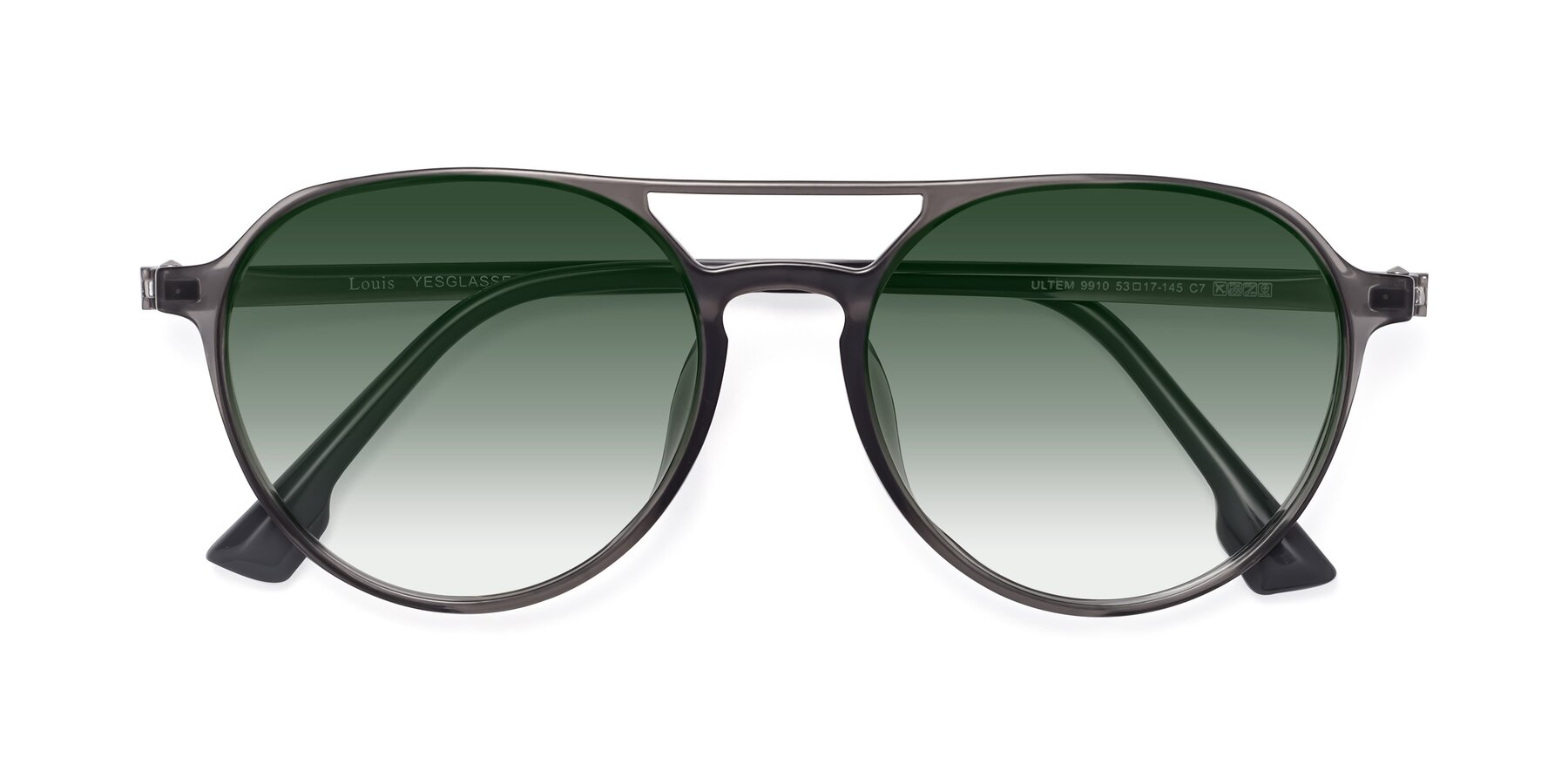 Folded Front of Louis in Gray with Green Gradient Lenses
