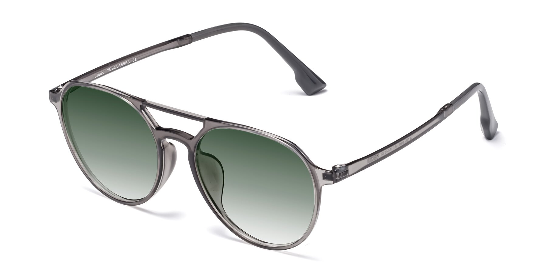 Angle of Louis in Gray with Green Gradient Lenses