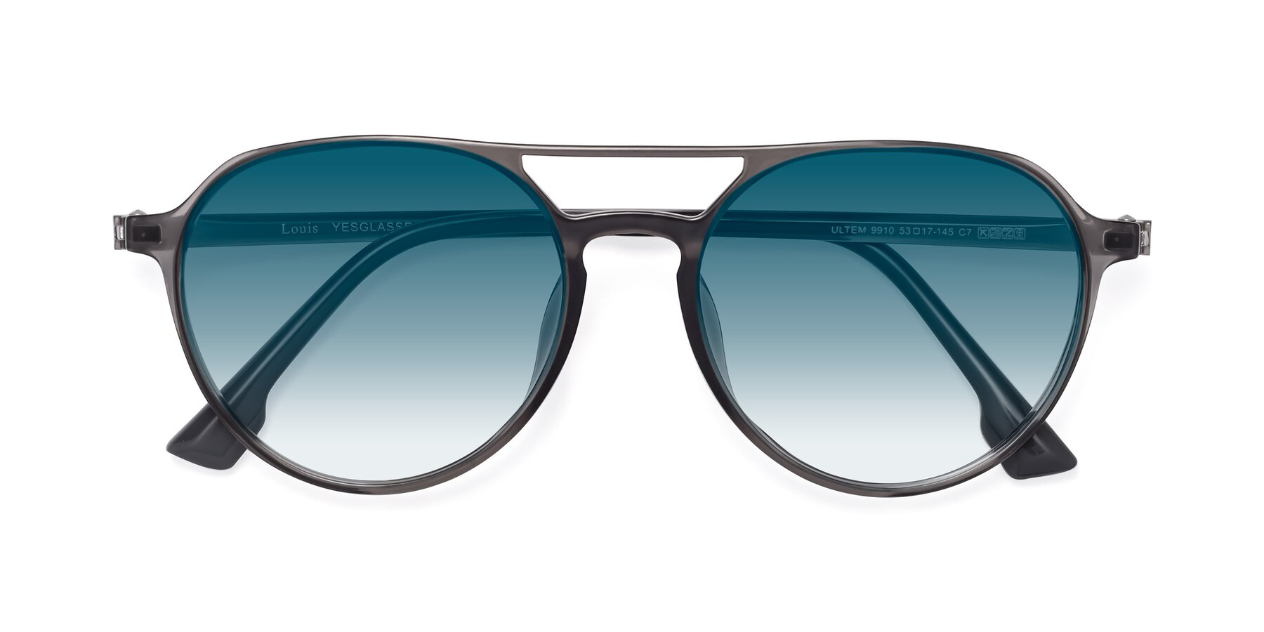 Folded Front of Louis in Gray with Blue Gradient Lenses