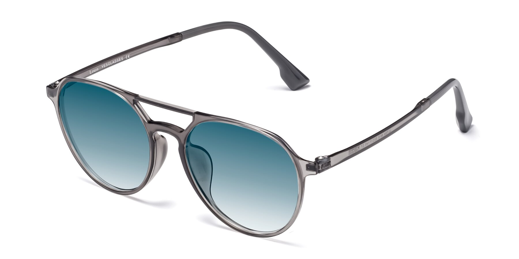 Angle of Louis in Gray with Blue Gradient Lenses