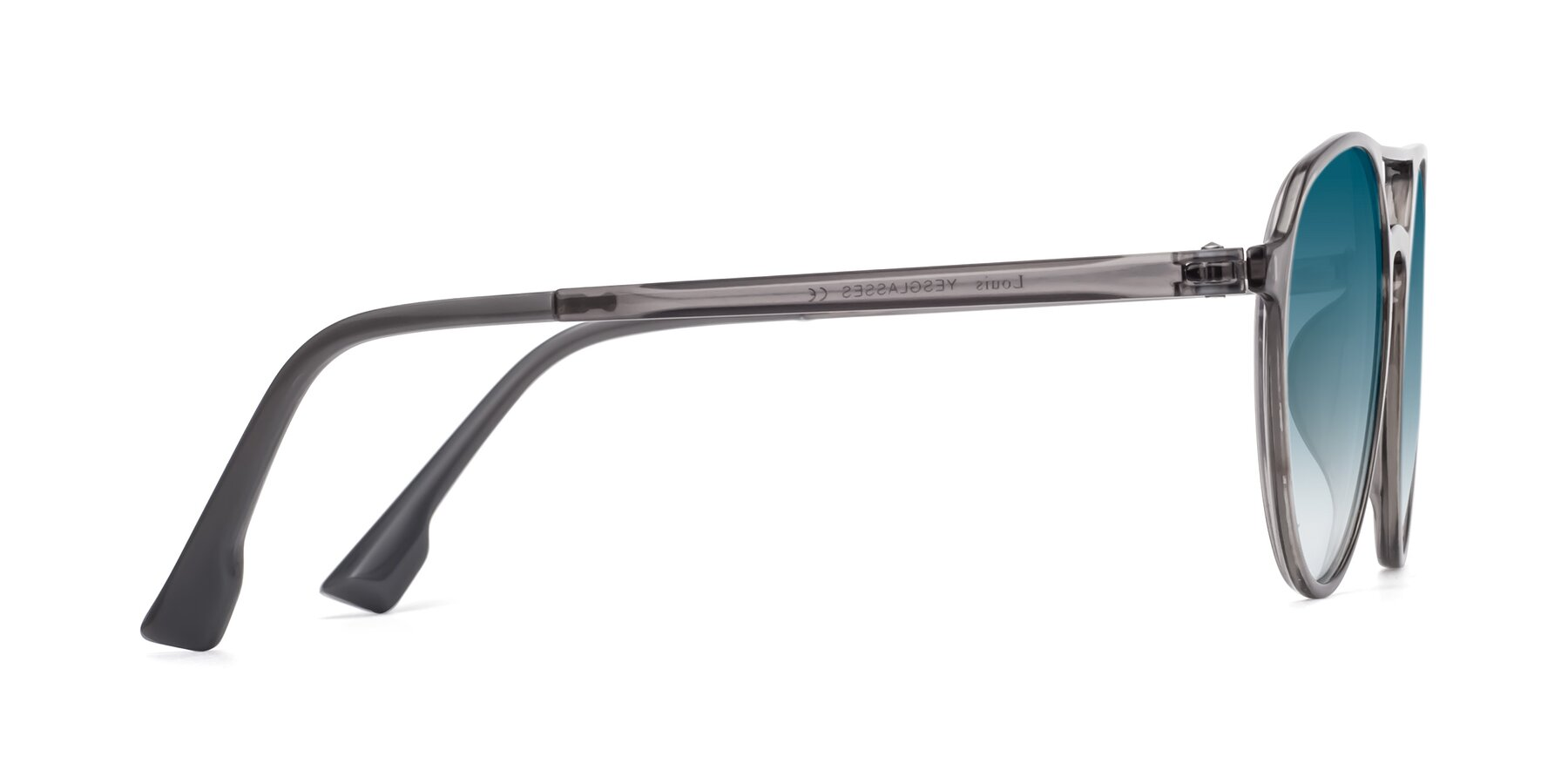 Side of Louis in Gray with Blue Gradient Lenses