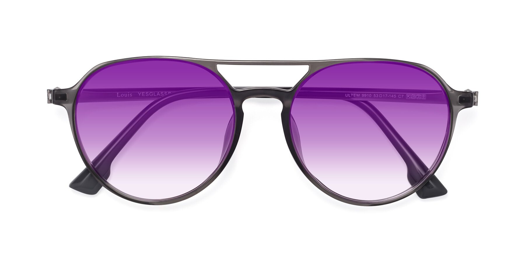 Folded Front of Louis in Gray with Purple Gradient Lenses