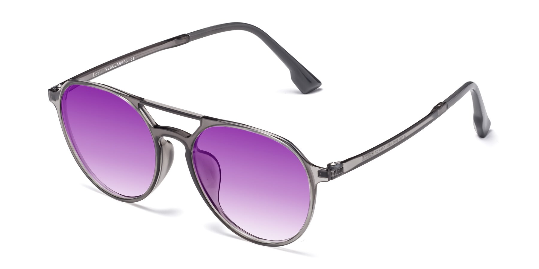 Angle of Louis in Gray with Purple Gradient Lenses