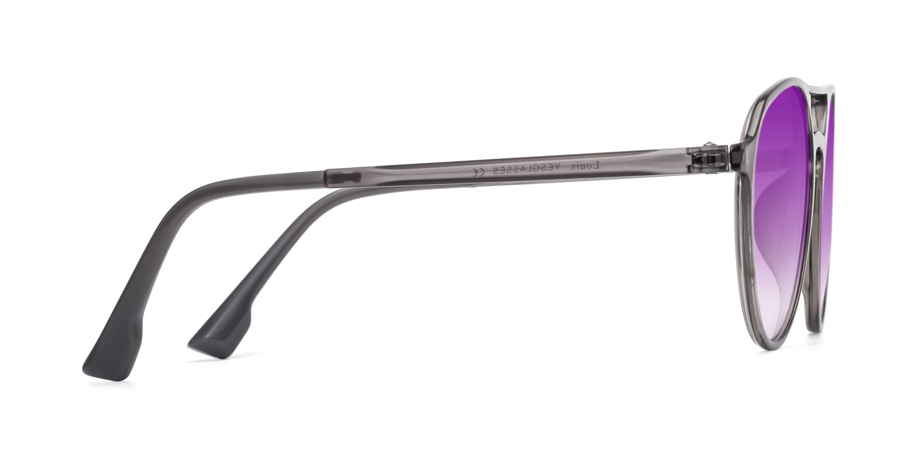 Side of Louis in Gray with Purple Gradient Lenses