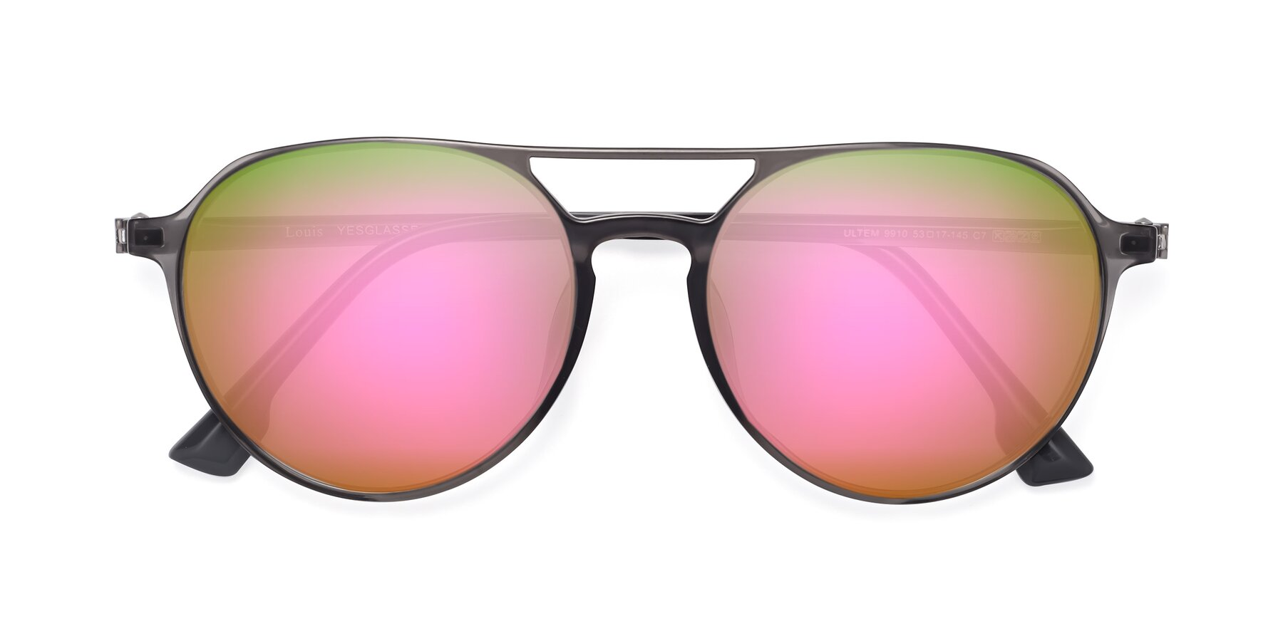 Folded Front of Louis in Gray with Pink Mirrored Lenses