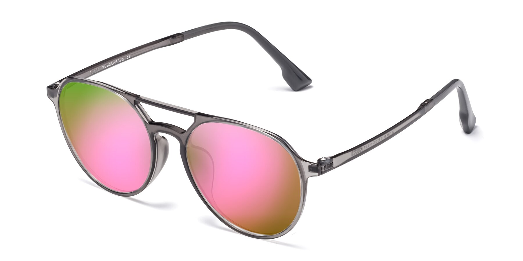 Angle of Louis in Gray with Pink Mirrored Lenses