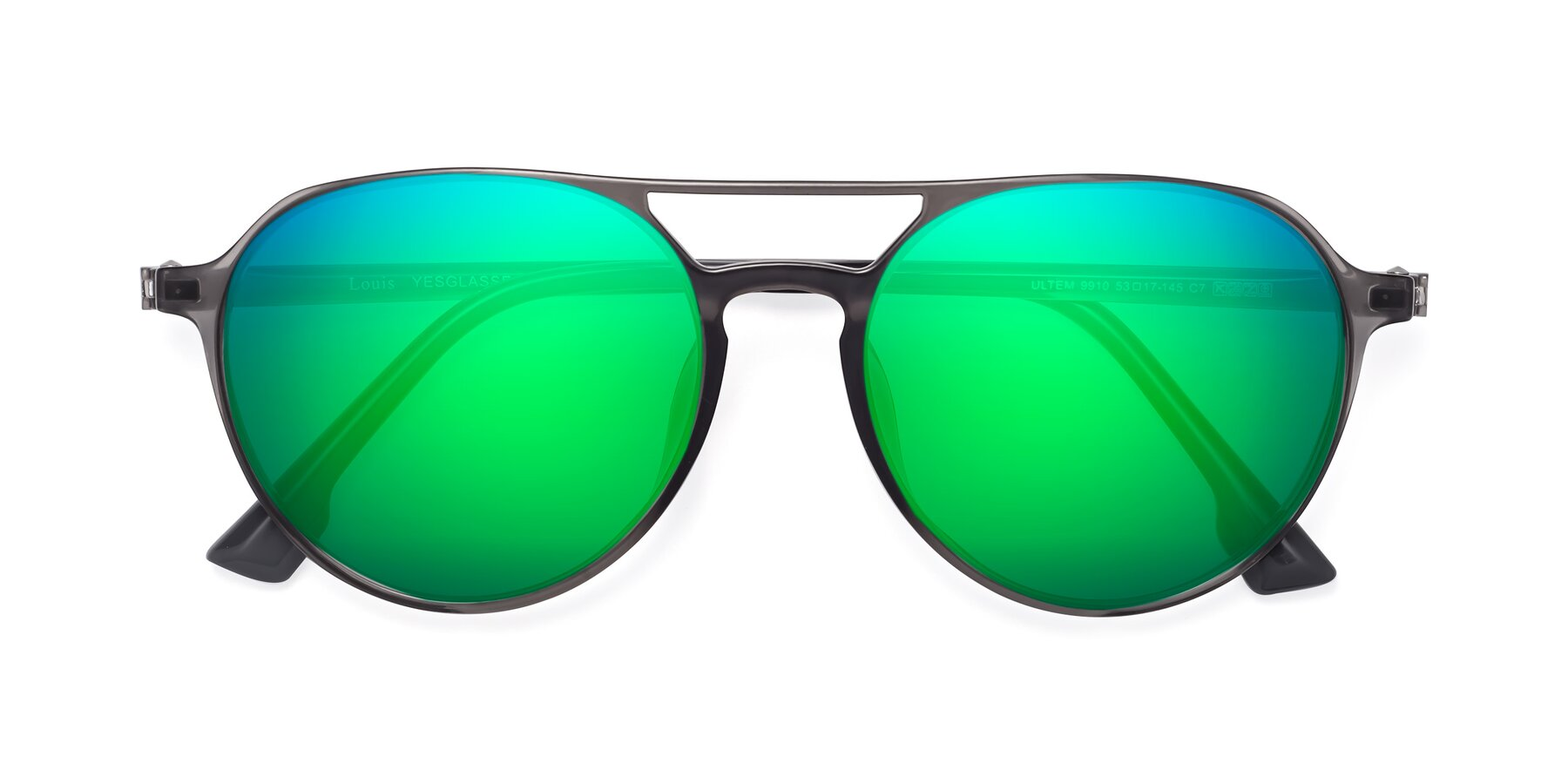 Folded Front of Louis in Gray with Green Mirrored Lenses