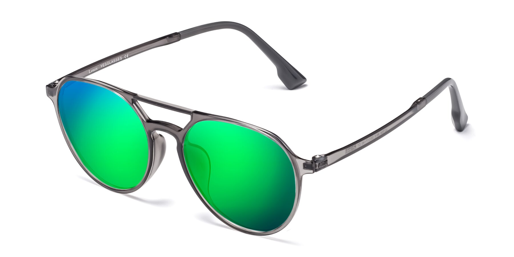 Angle of Louis in Gray with Green Mirrored Lenses