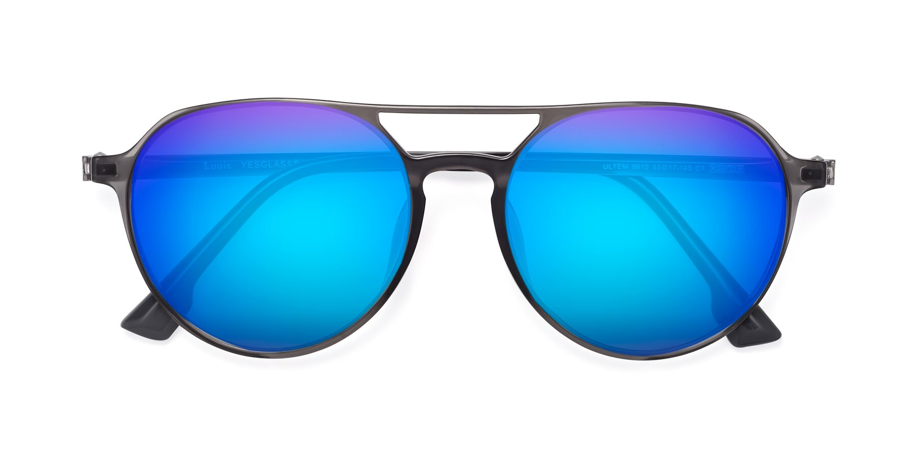 Folded Front of Louis in Gray with Blue Mirrored Lenses