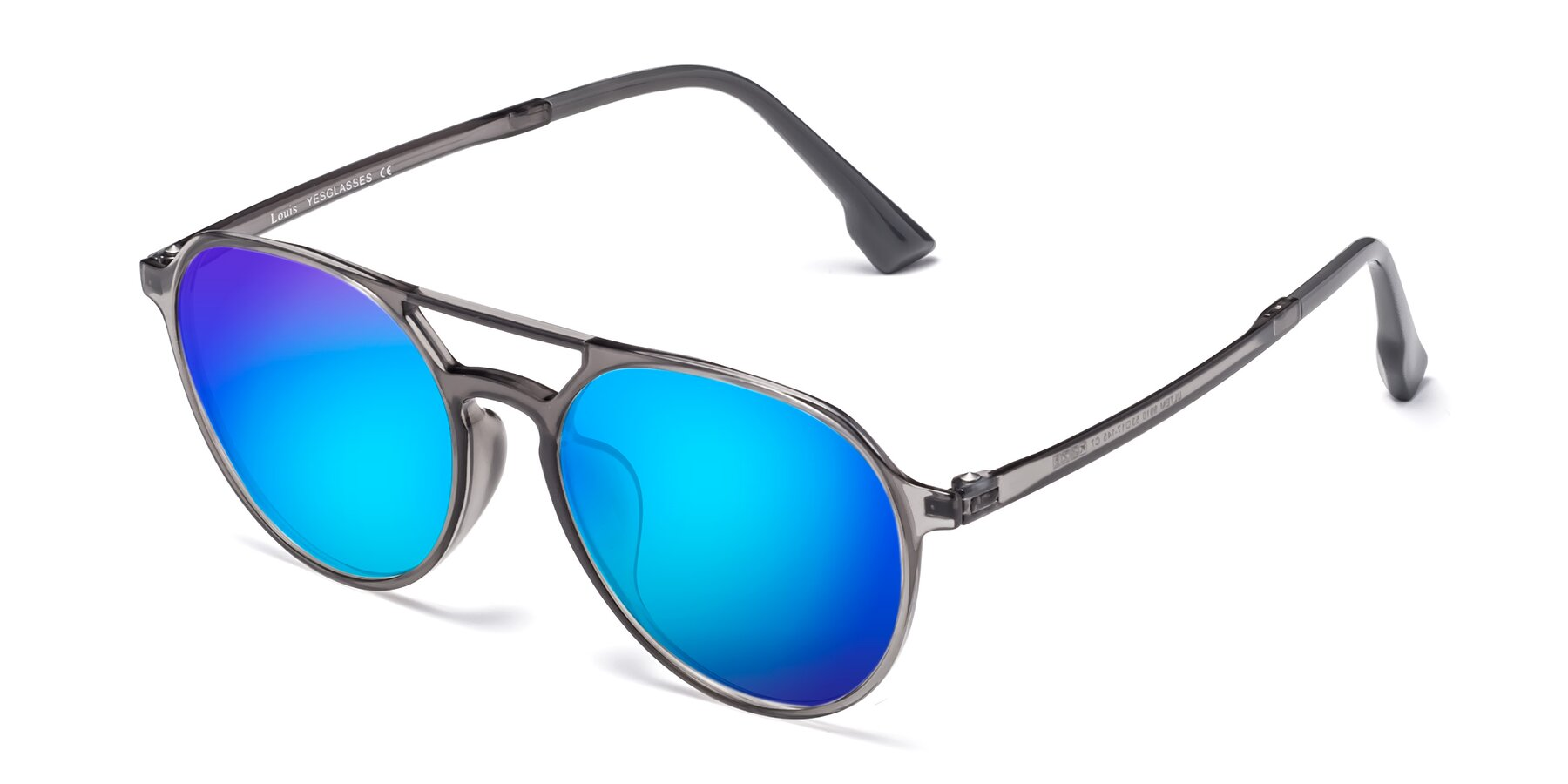 Angle of Louis in Gray with Blue Mirrored Lenses
