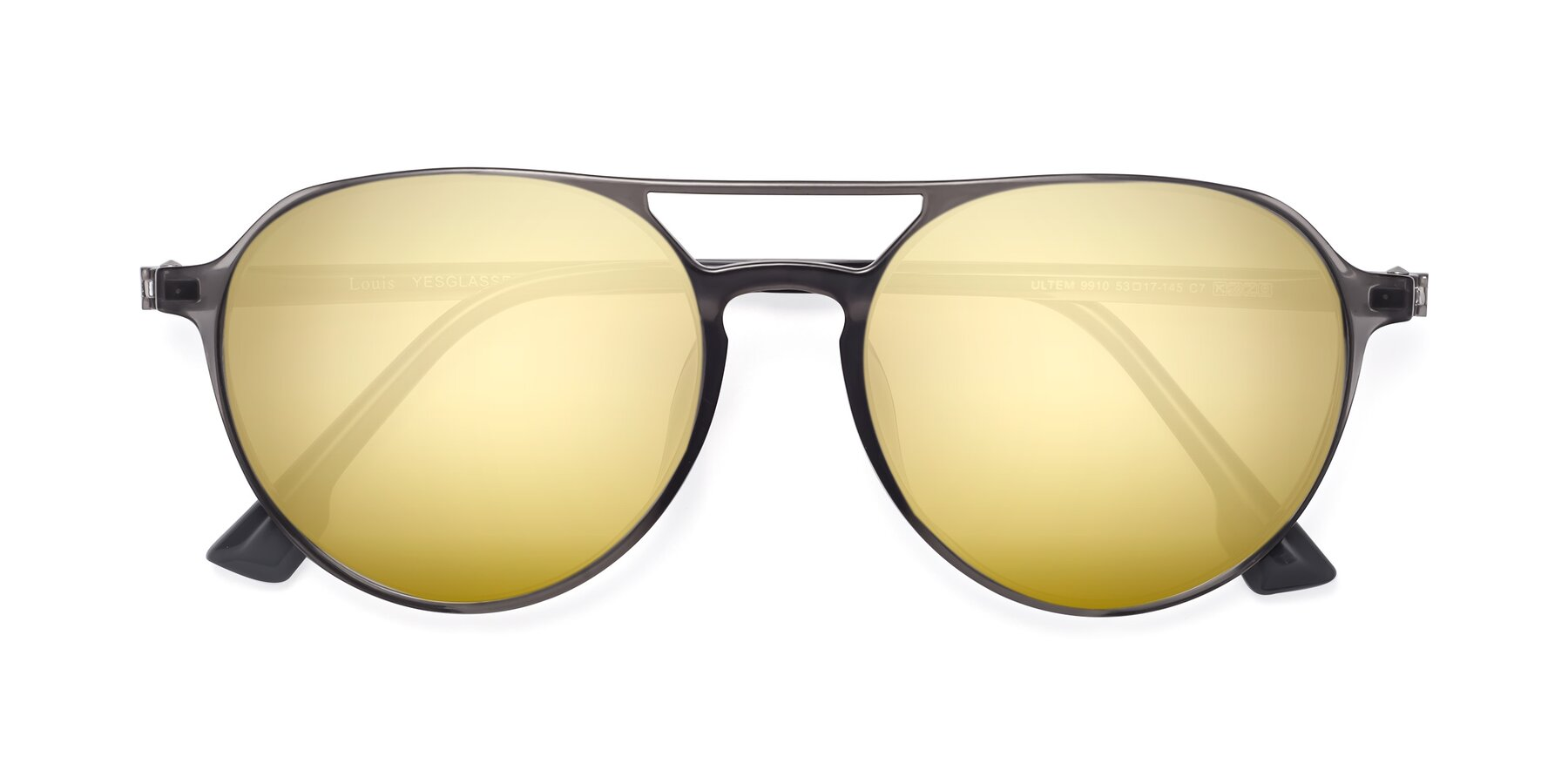 Folded Front of Louis in Gray with Gold Mirrored Lenses