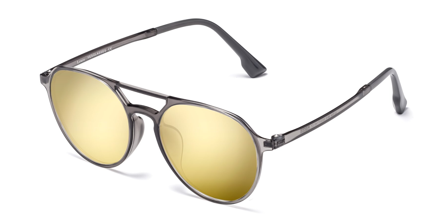 Angle of Louis in Gray with Gold Mirrored Lenses