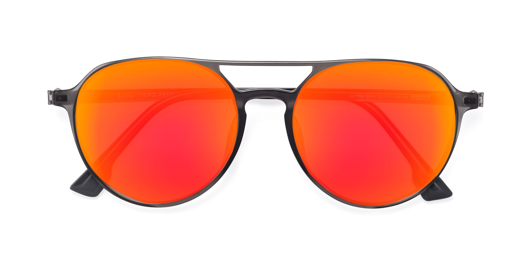 Folded Front of Louis in Gray with Red Gold Mirrored Lenses