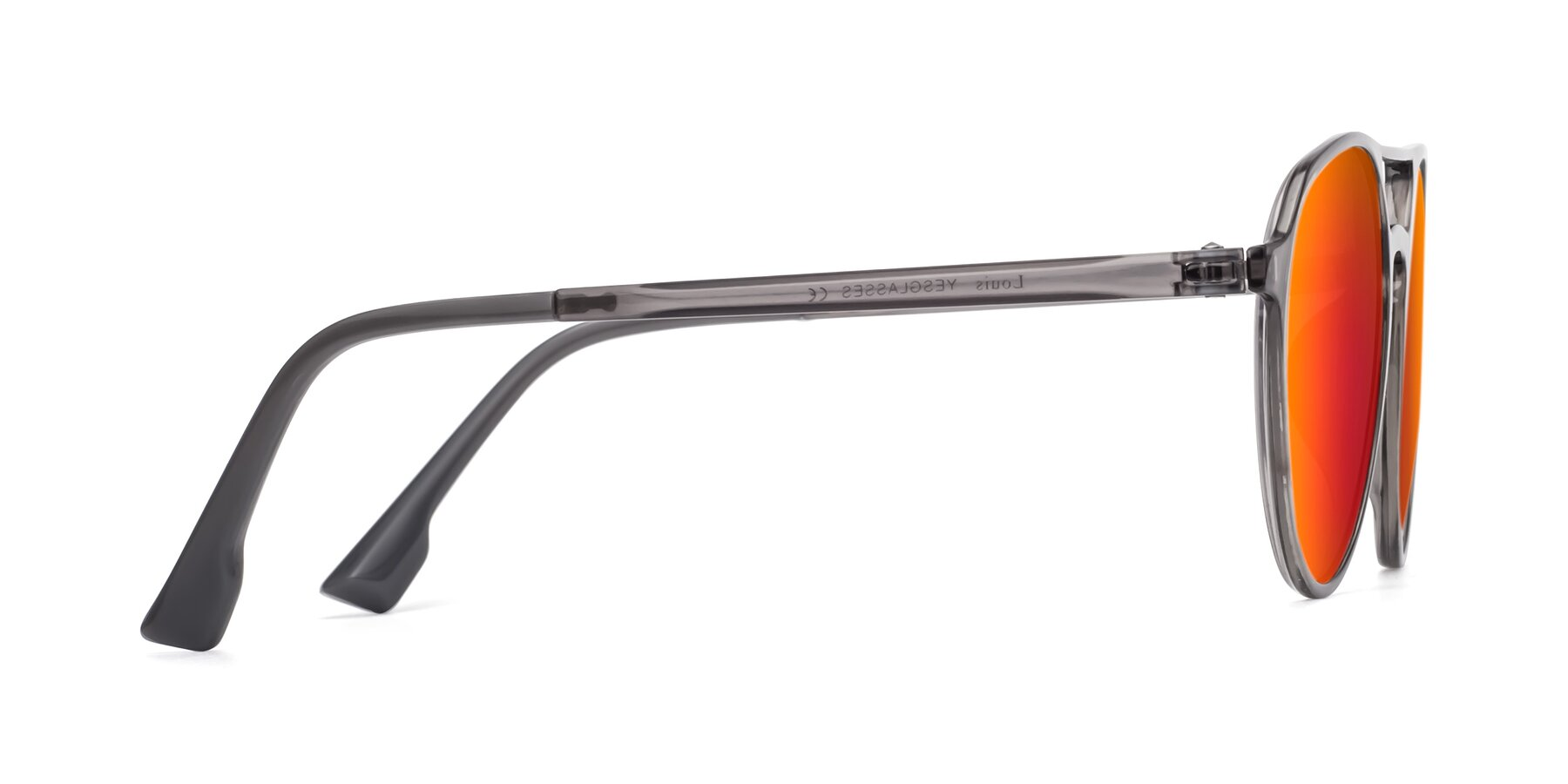Side of Louis in Gray with Red Gold Mirrored Lenses