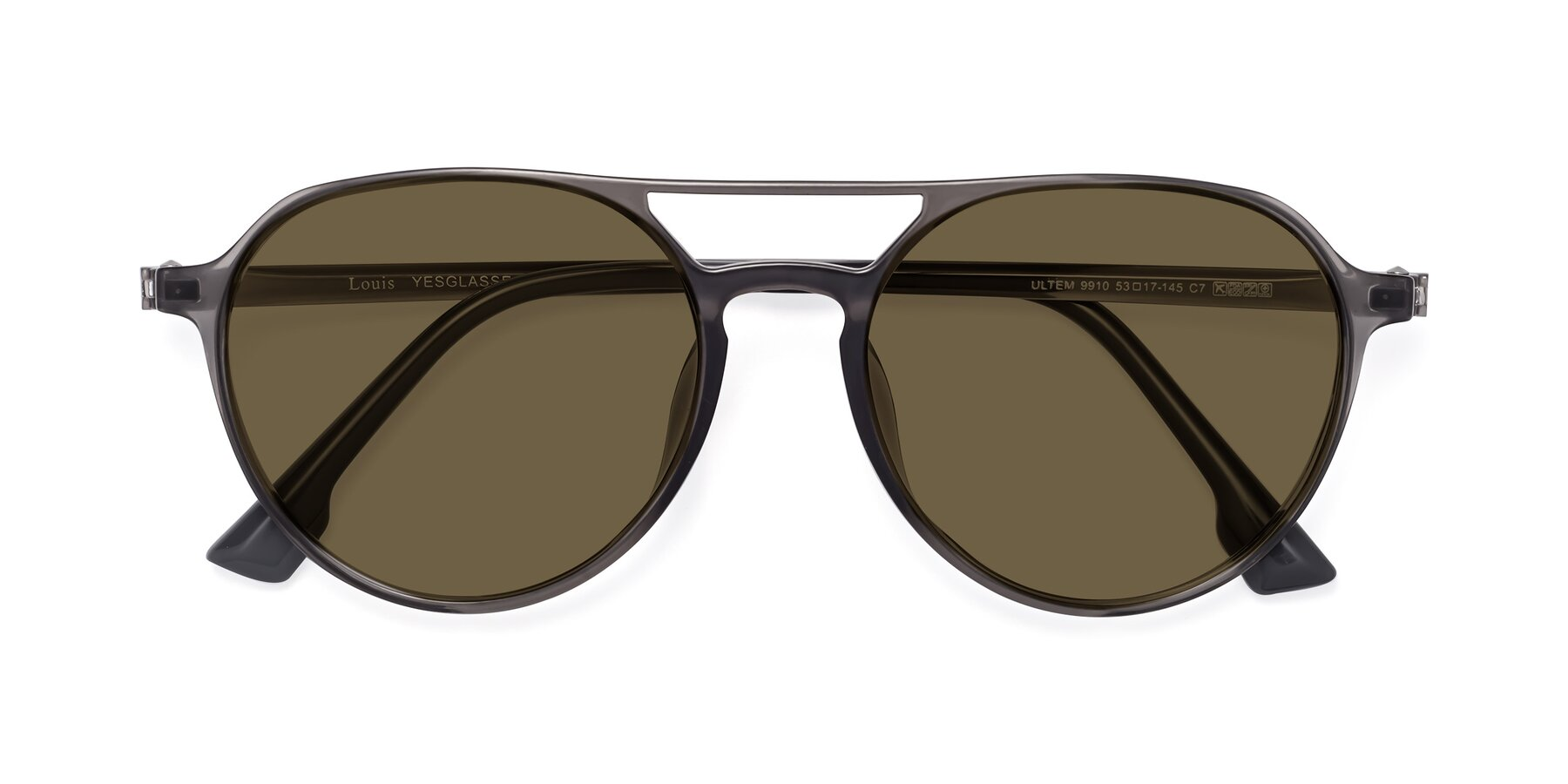 Folded Front of Louis in Gray with Brown Polarized Lenses