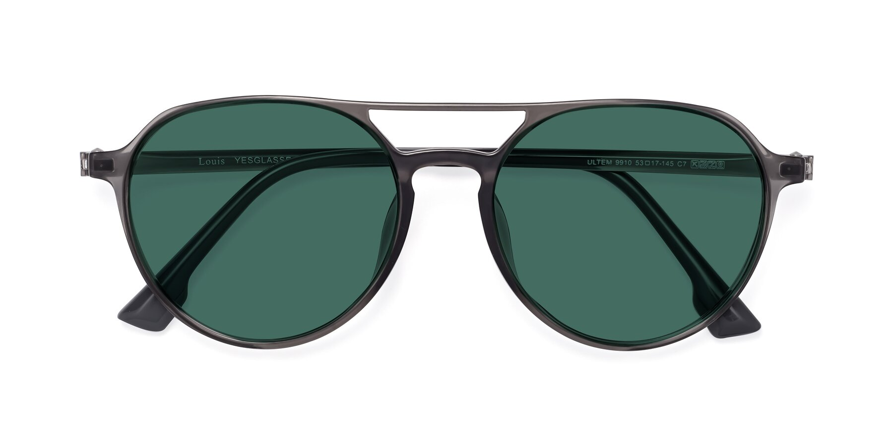 Folded Front of Louis in Gray with Green Polarized Lenses