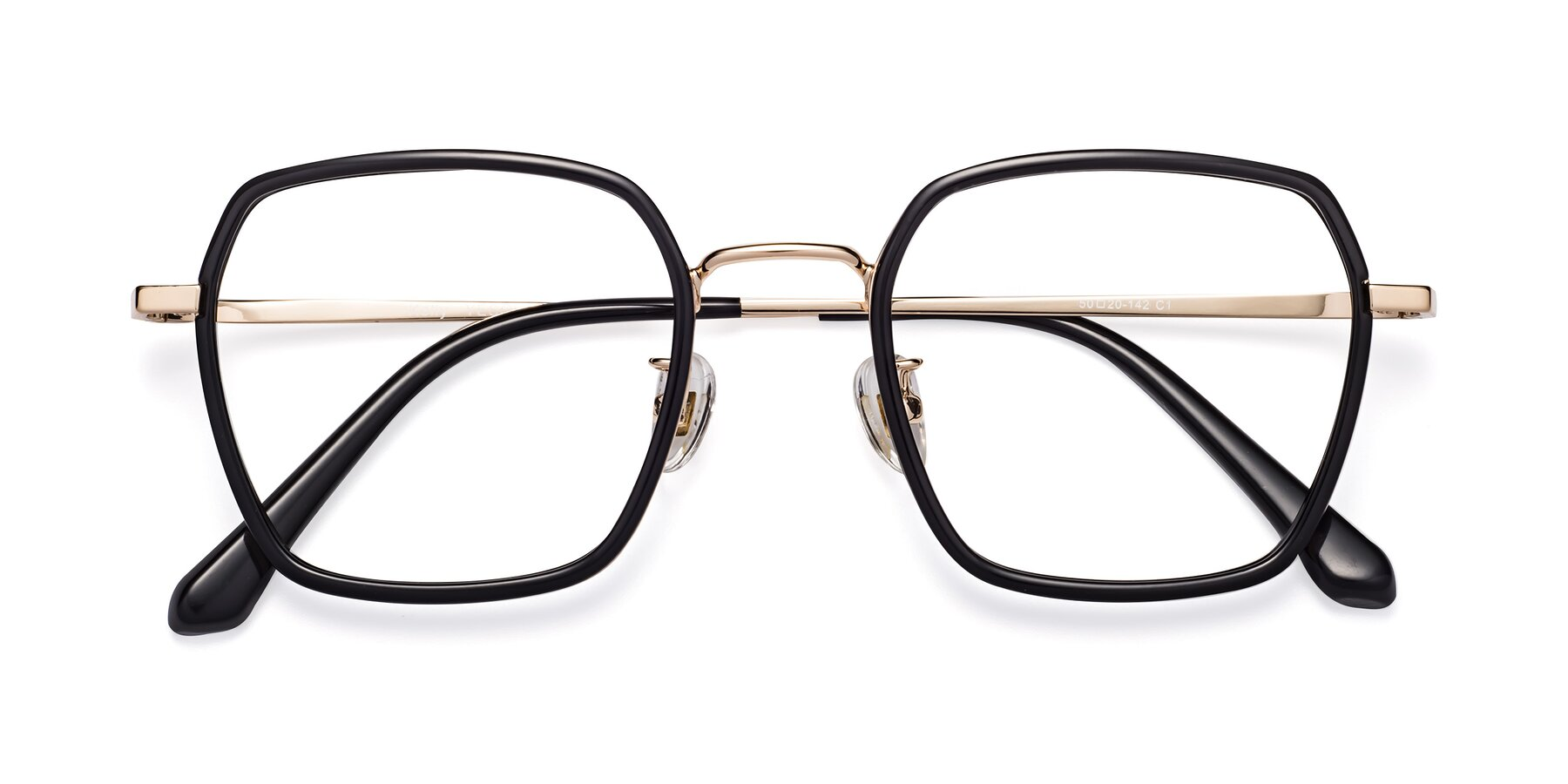 Folded Front of Kelly in Black-Gold with Clear Blue Light Blocking Lenses