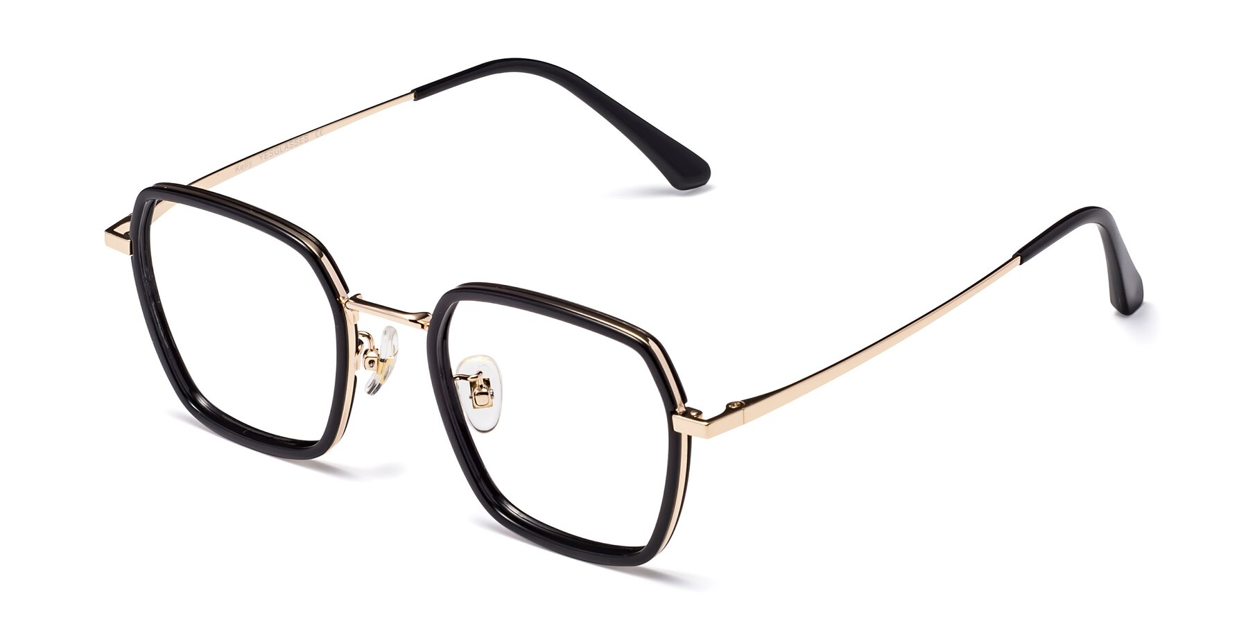 Angle of Kelly in Black-Gold with Clear Blue Light Blocking Lenses