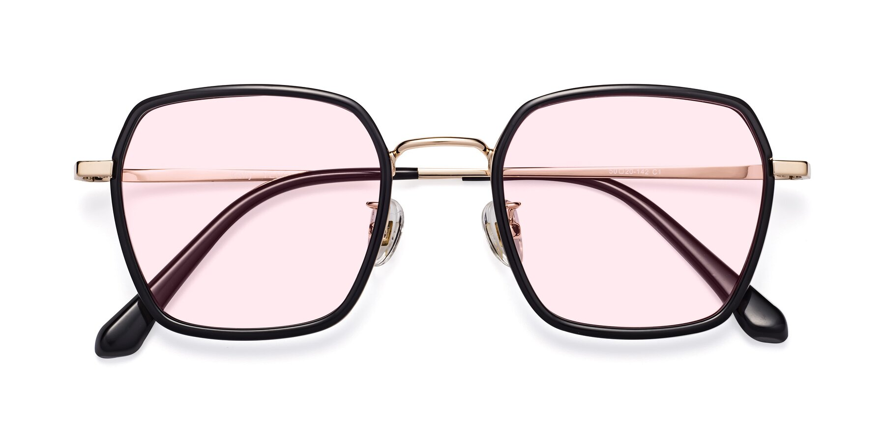 Folded Front of Kelly in Black-Gold with Light Pink Tinted Lenses