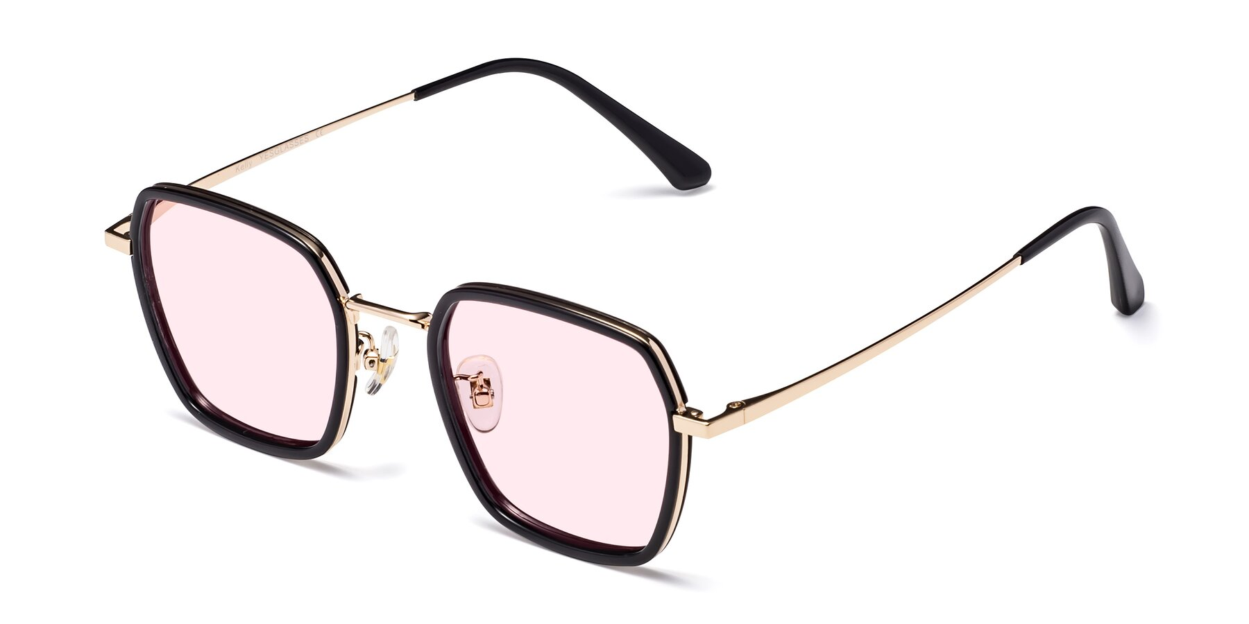 Angle of Kelly in Black-Gold with Light Pink Tinted Lenses