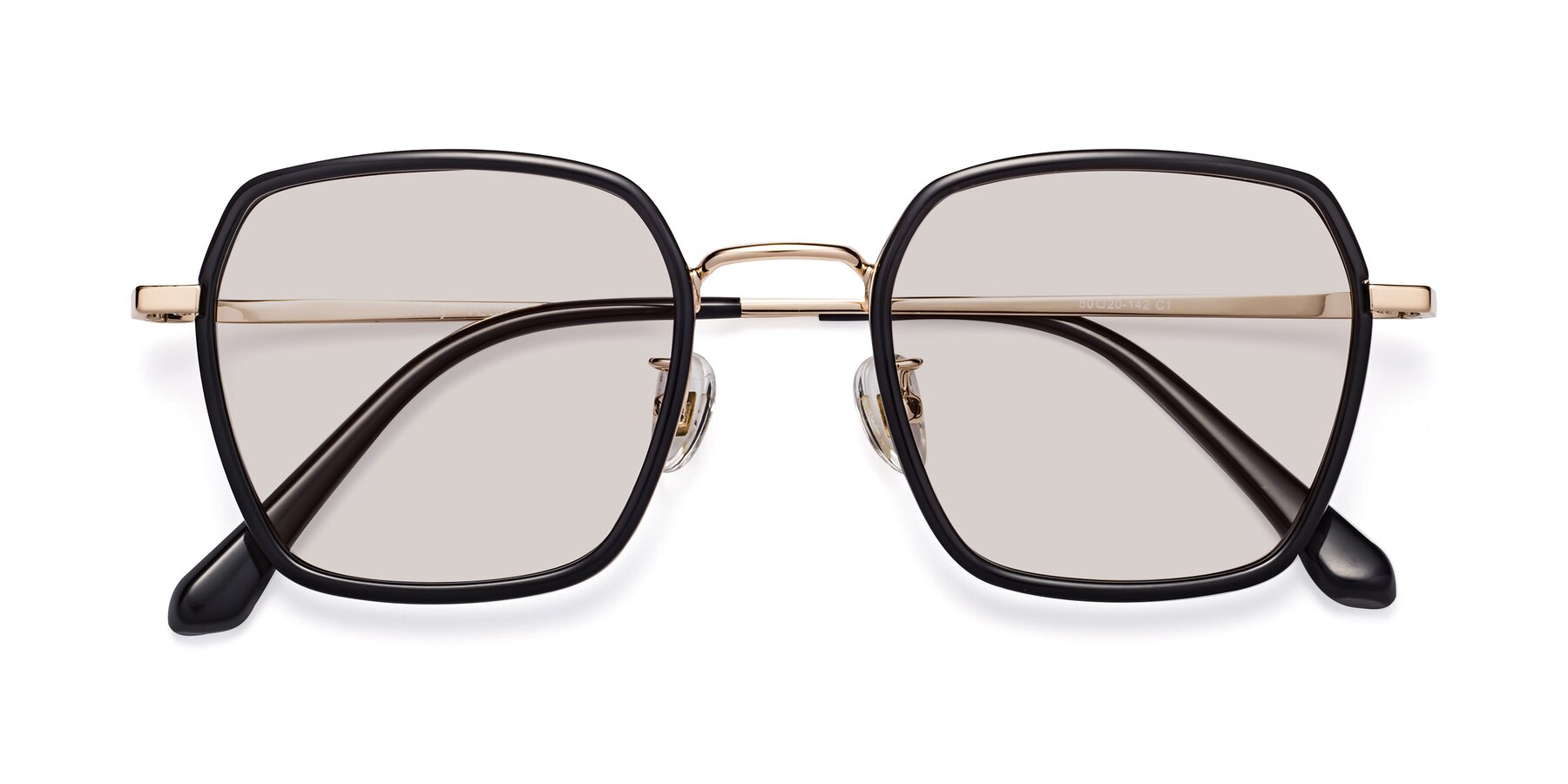 Folded Front of Kelly in Black-Gold with Light Brown Tinted Lenses