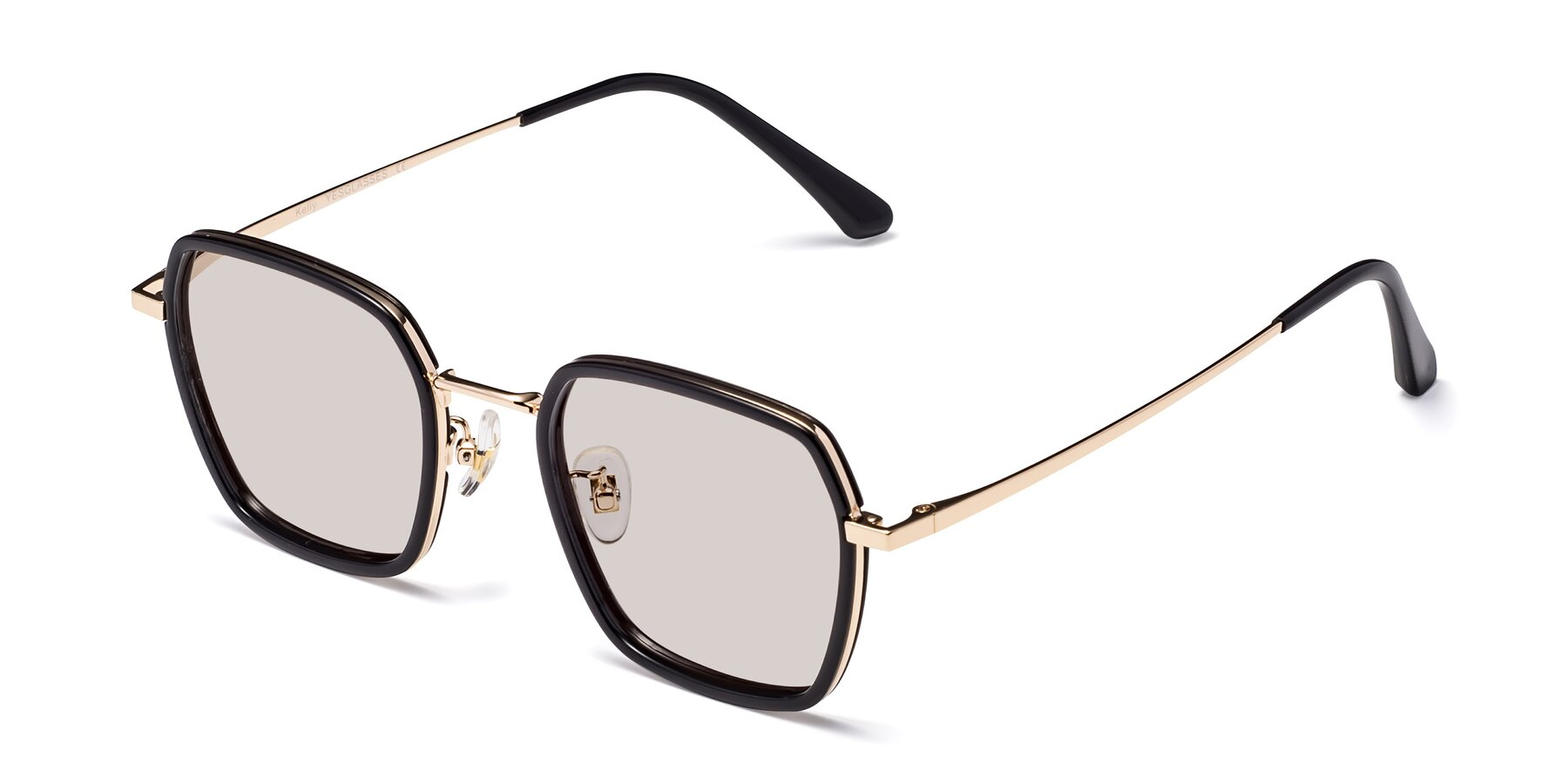 Angle of Kelly in Black-Gold with Light Brown Tinted Lenses