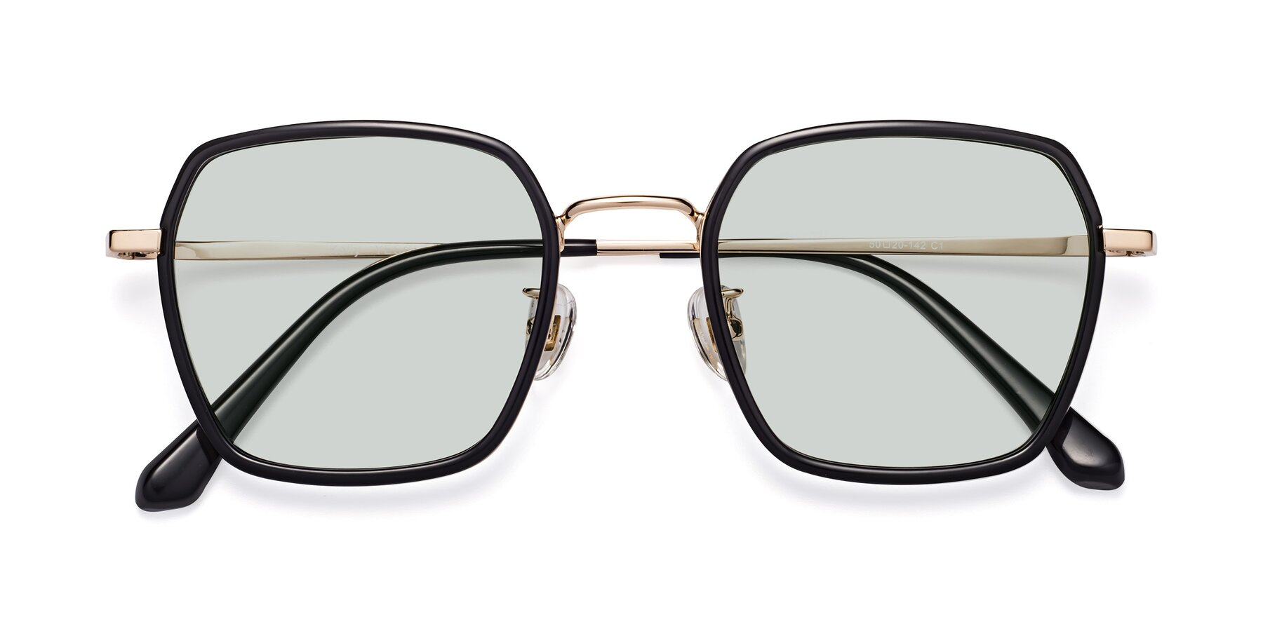 Folded Front of Kelly in Black-Gold with Light Green Tinted Lenses