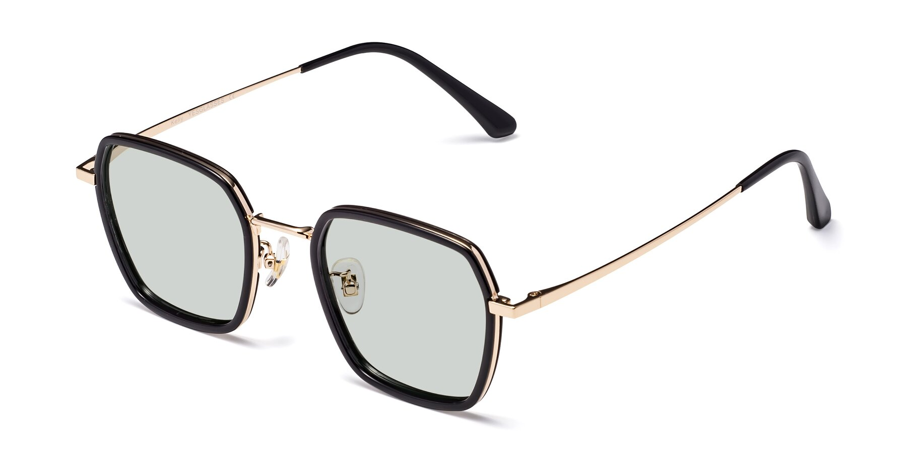 Angle of Kelly in Black-Gold with Light Green Tinted Lenses