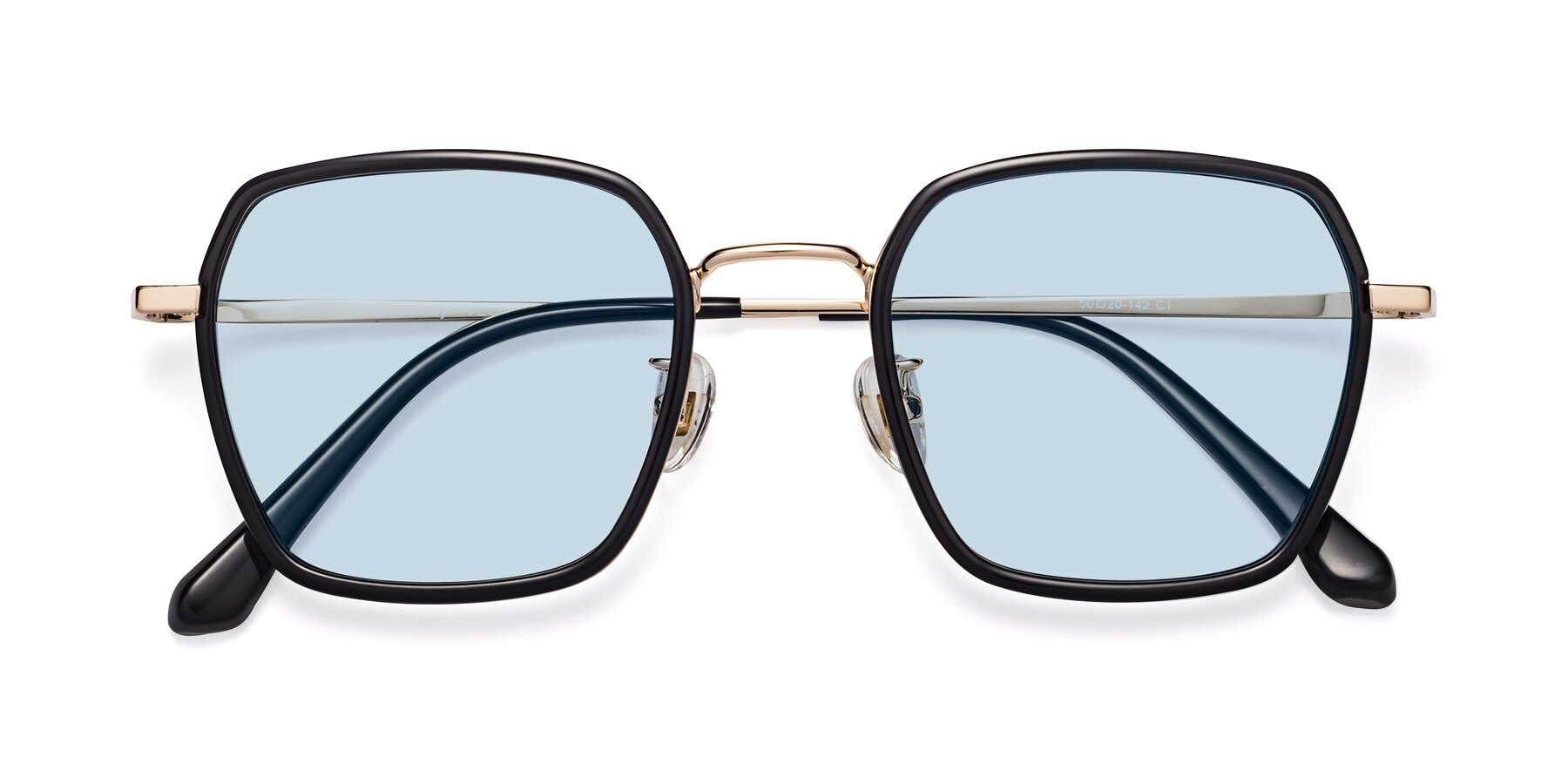 Folded Front of Kelly in Black-Gold with Light Blue Tinted Lenses