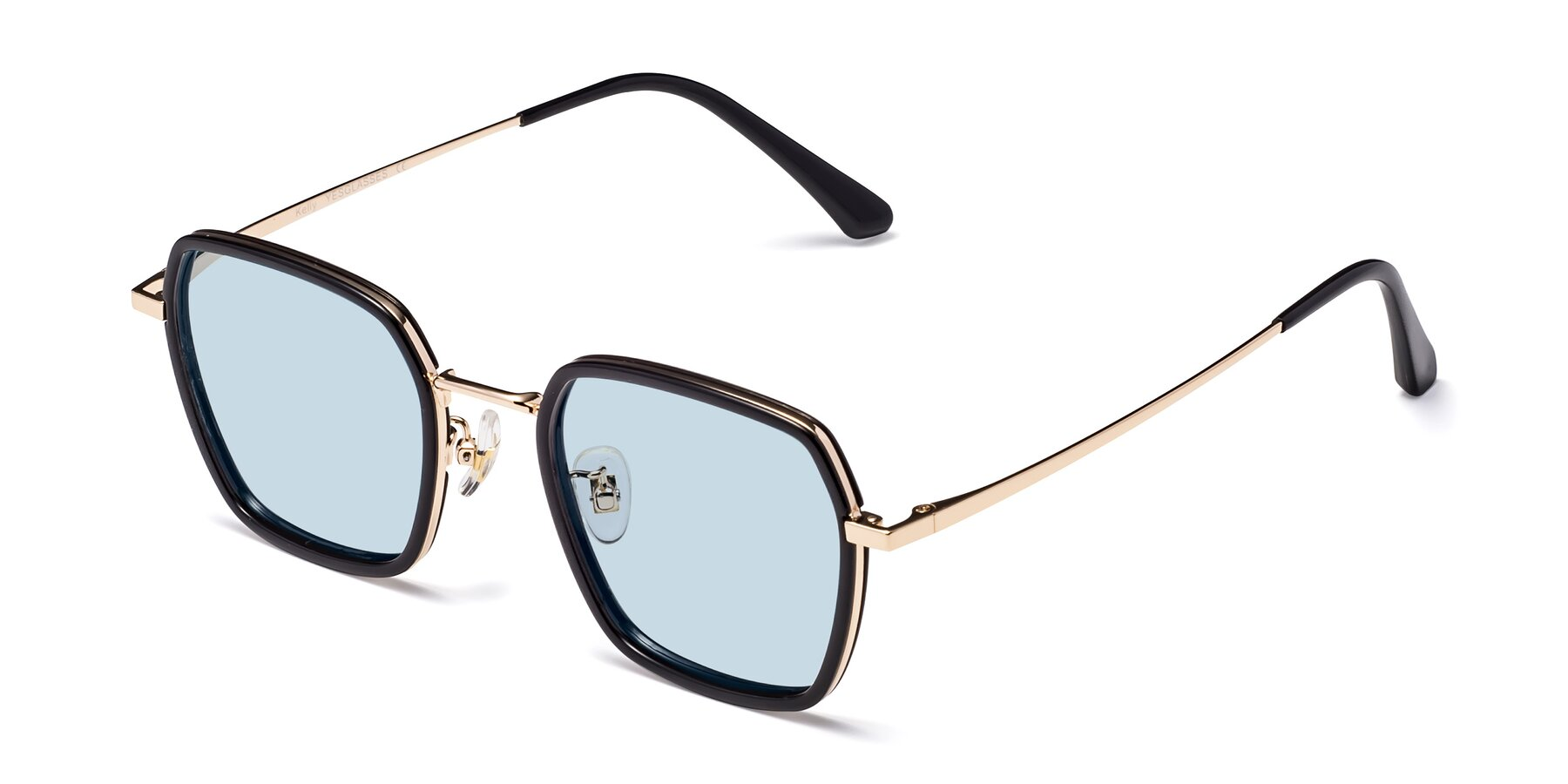 Angle of Kelly in Black-Gold with Light Blue Tinted Lenses