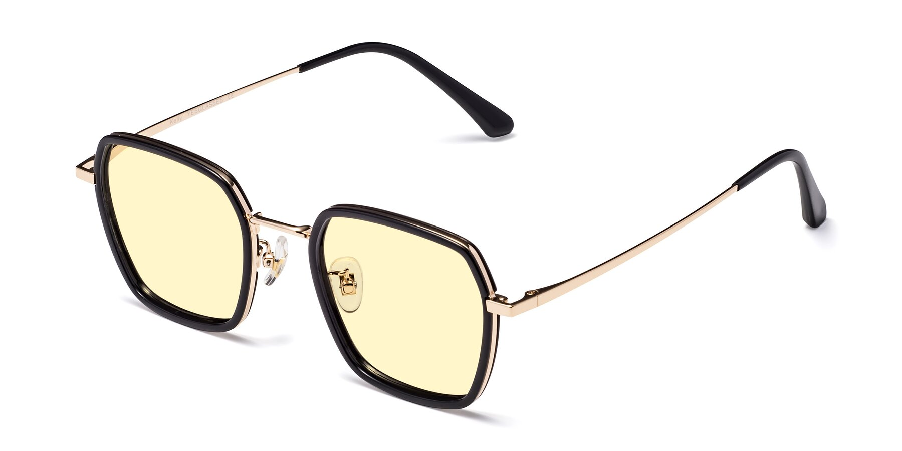 Angle of Kelly in Black-Gold with Light Yellow Tinted Lenses