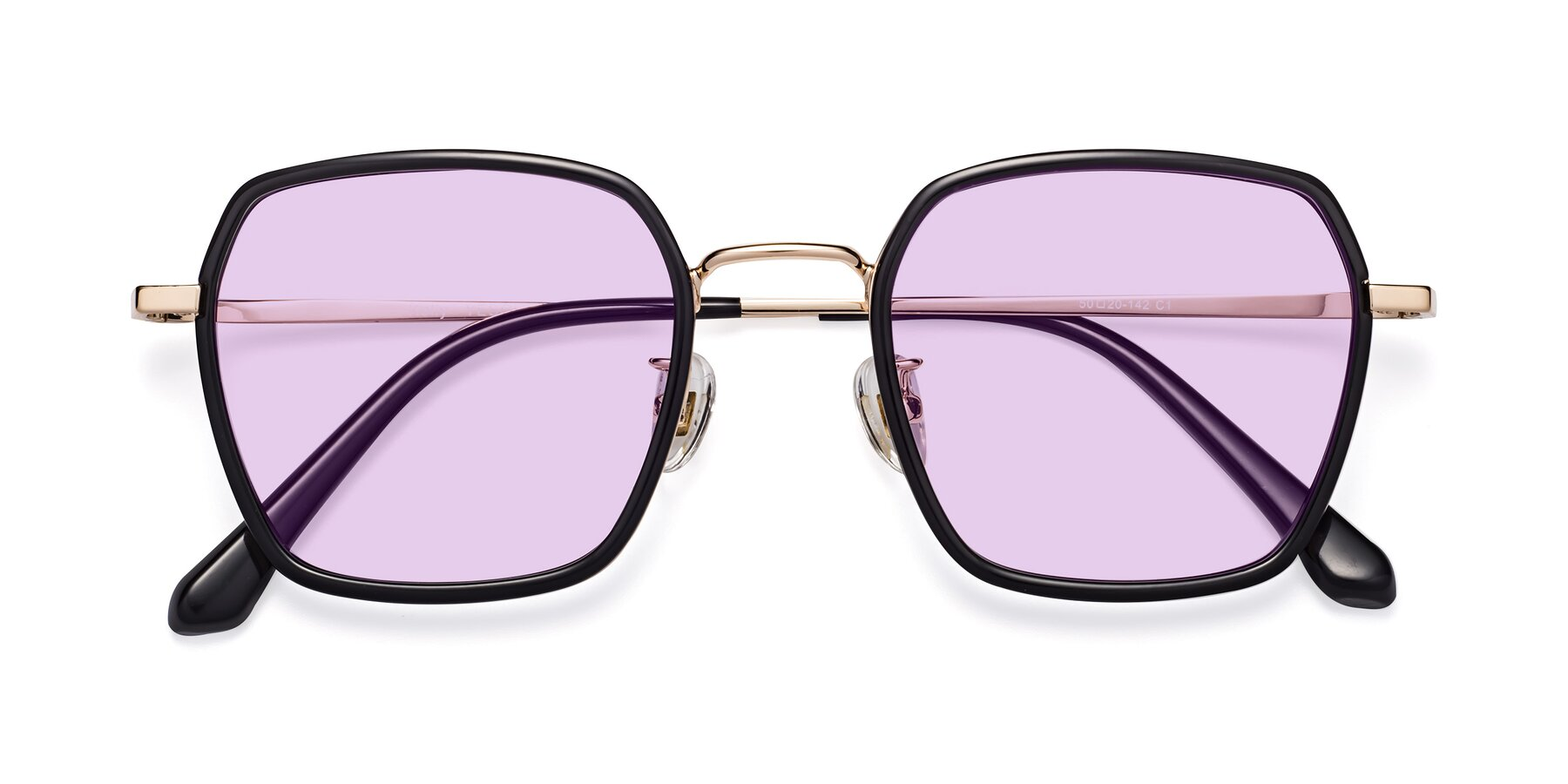 Folded Front of Kelly in Black-Gold with Light Purple Tinted Lenses