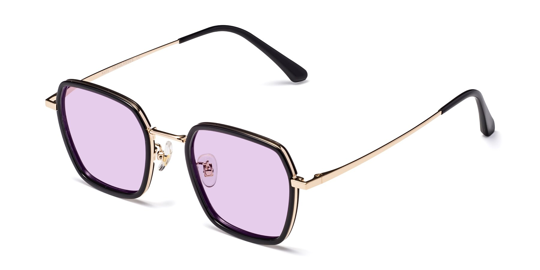 Angle of Kelly in Black-Gold with Light Purple Tinted Lenses