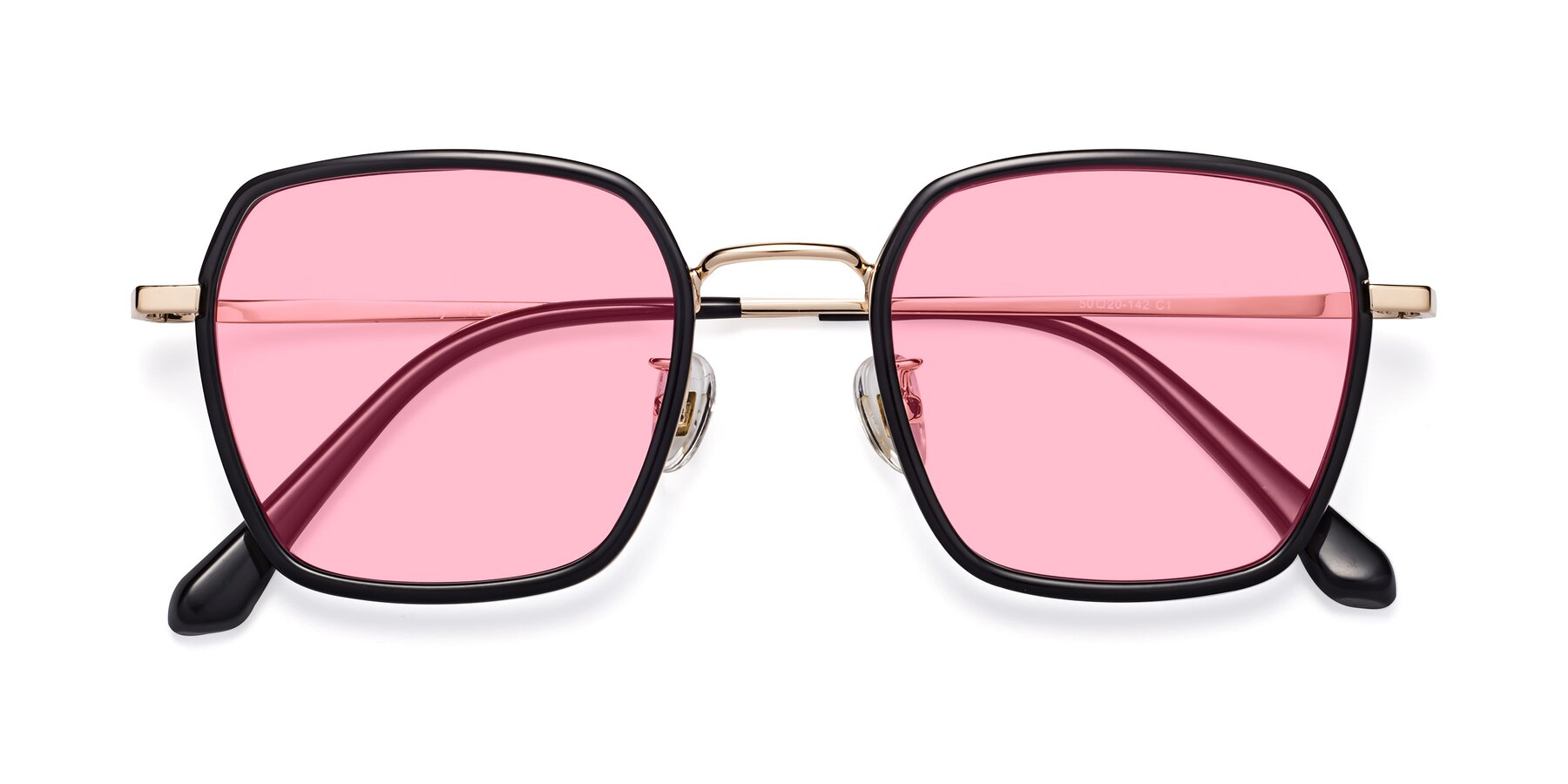Folded Front of Kelly in Black-Gold with Medium Pink Tinted Lenses