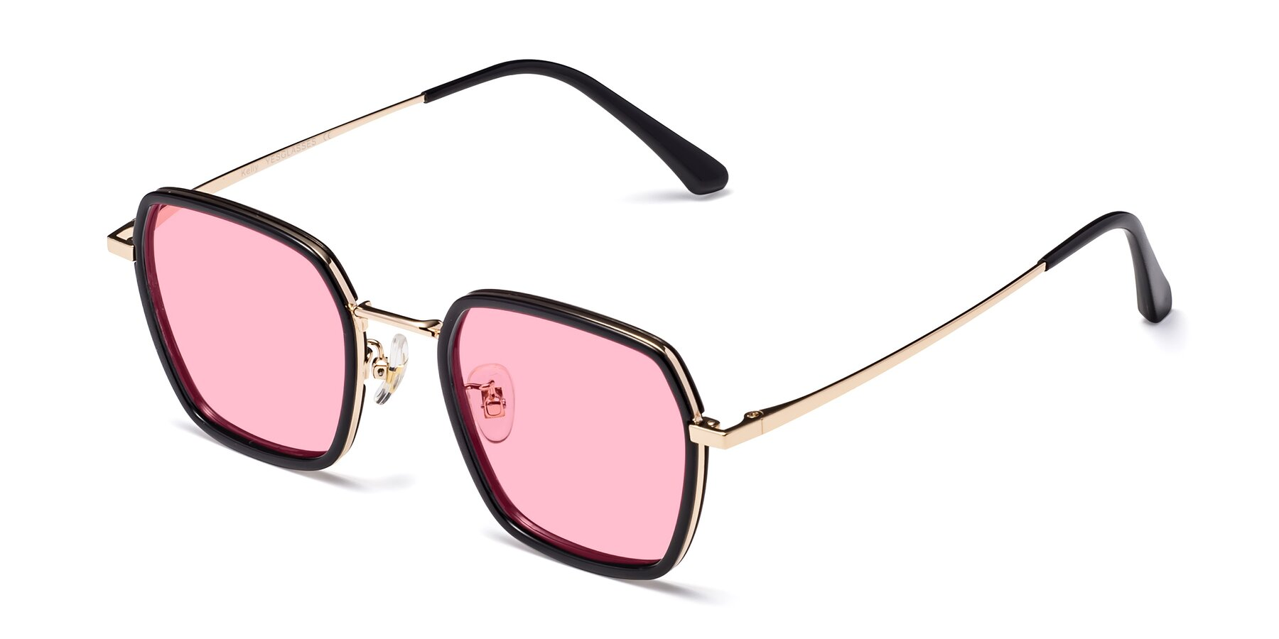 Angle of Kelly in Black-Gold with Medium Pink Tinted Lenses