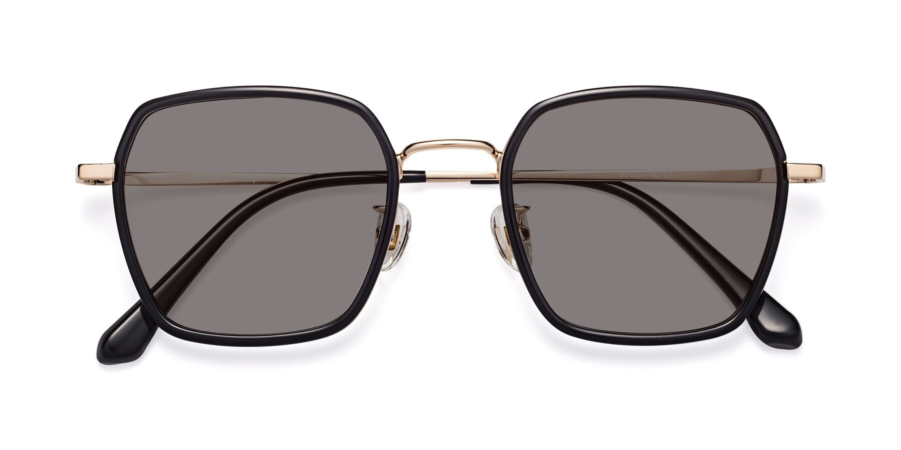 Folded Front of Kelly in Black-Gold with Medium Gray Tinted Lenses